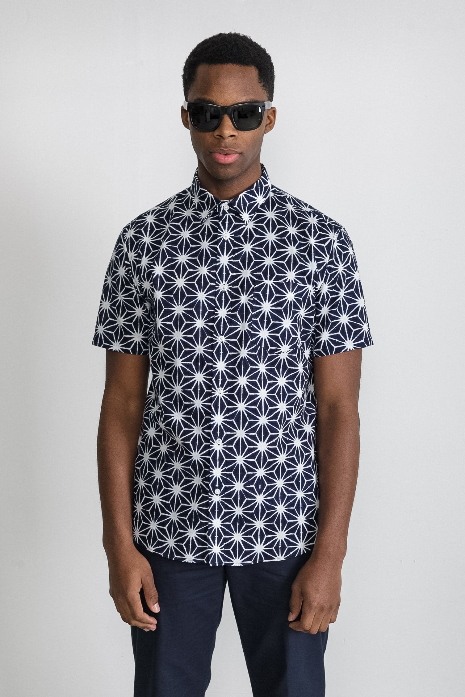Japanese Asanoha Print in Navy and White 001