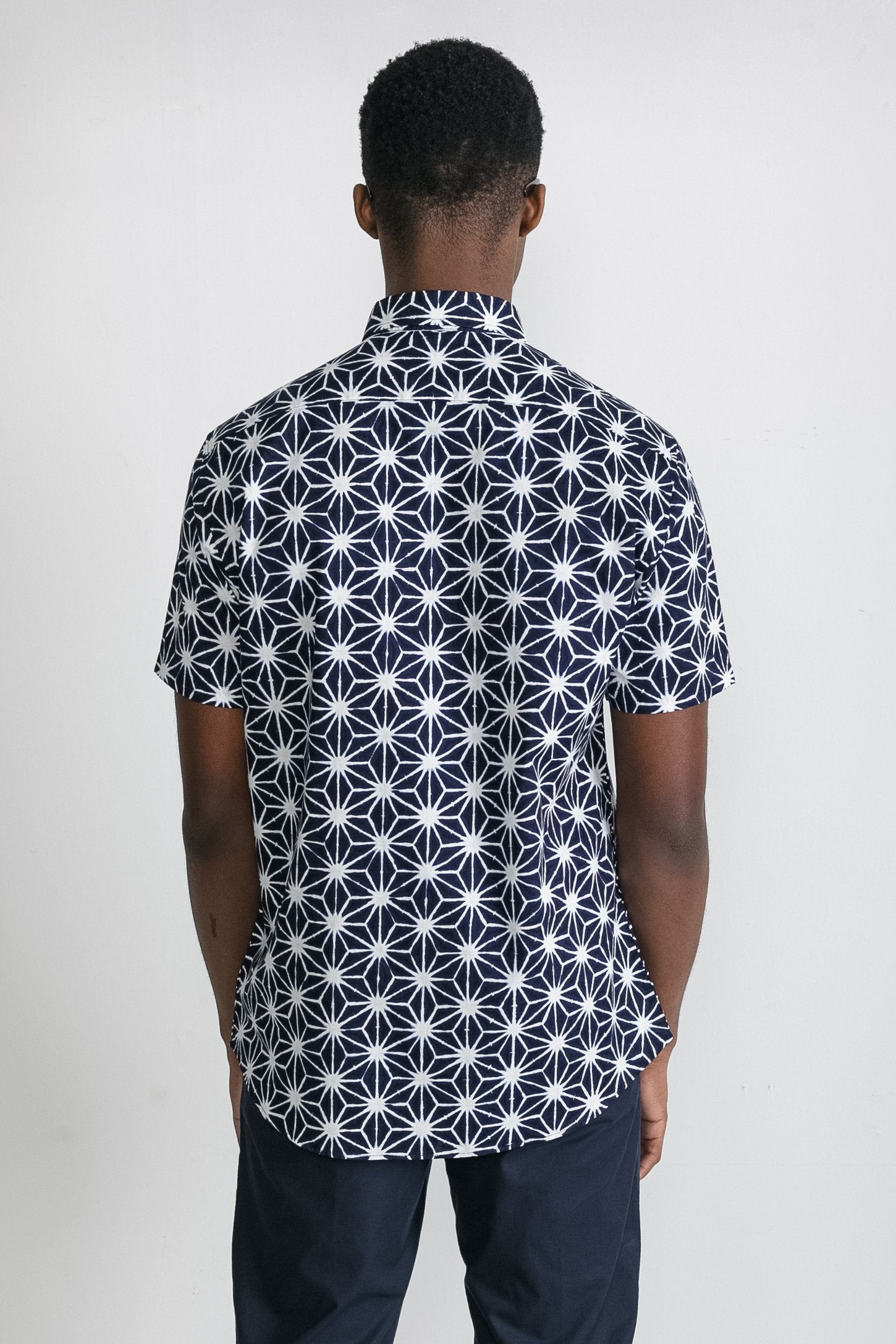 Japanese Asanoha Print in Navy and White 005