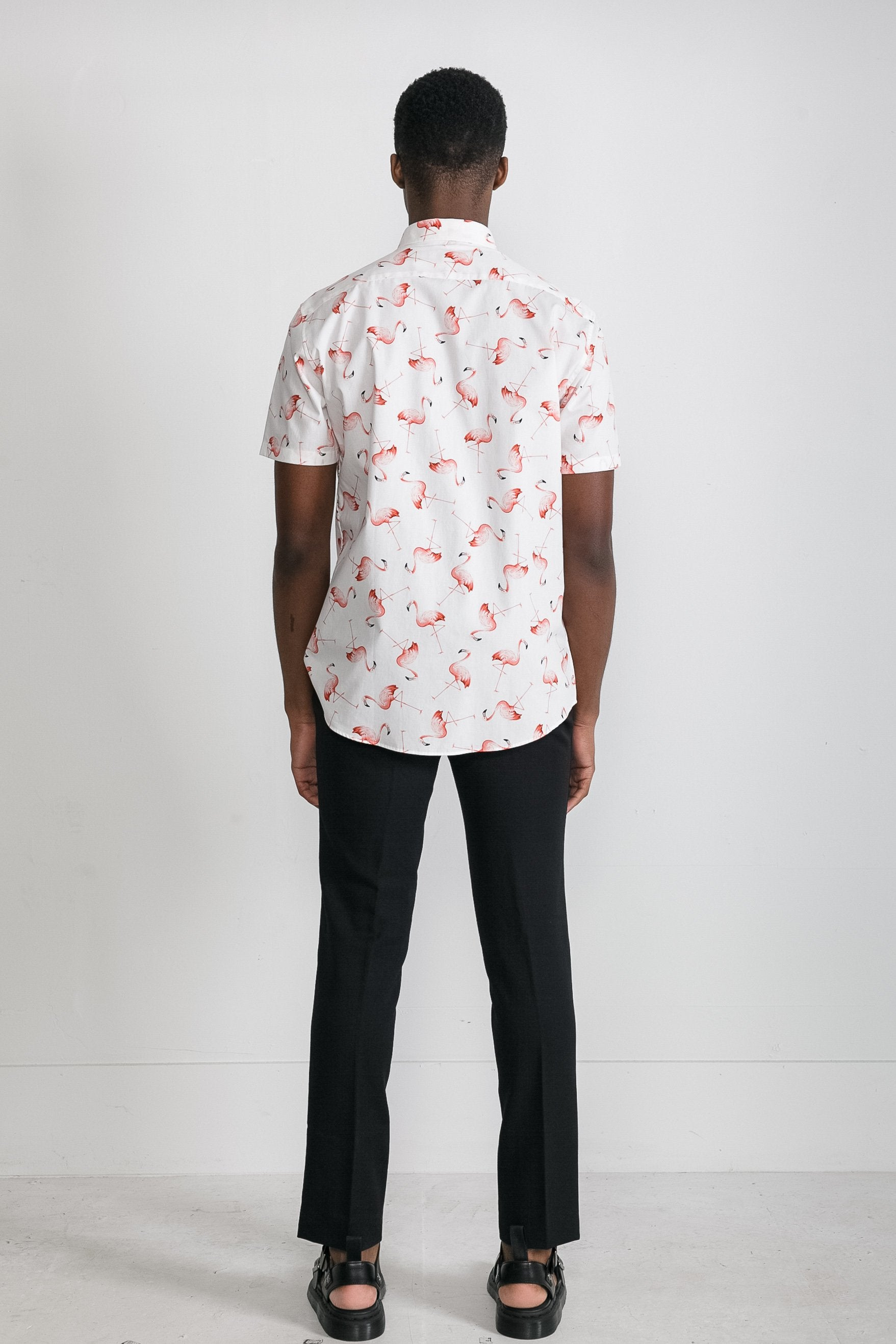 Japanese Flamingo Print in White 003