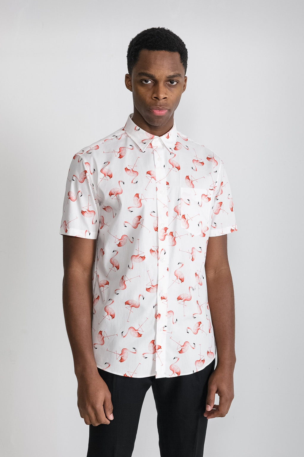 Japanese Flamingo Print in White 001