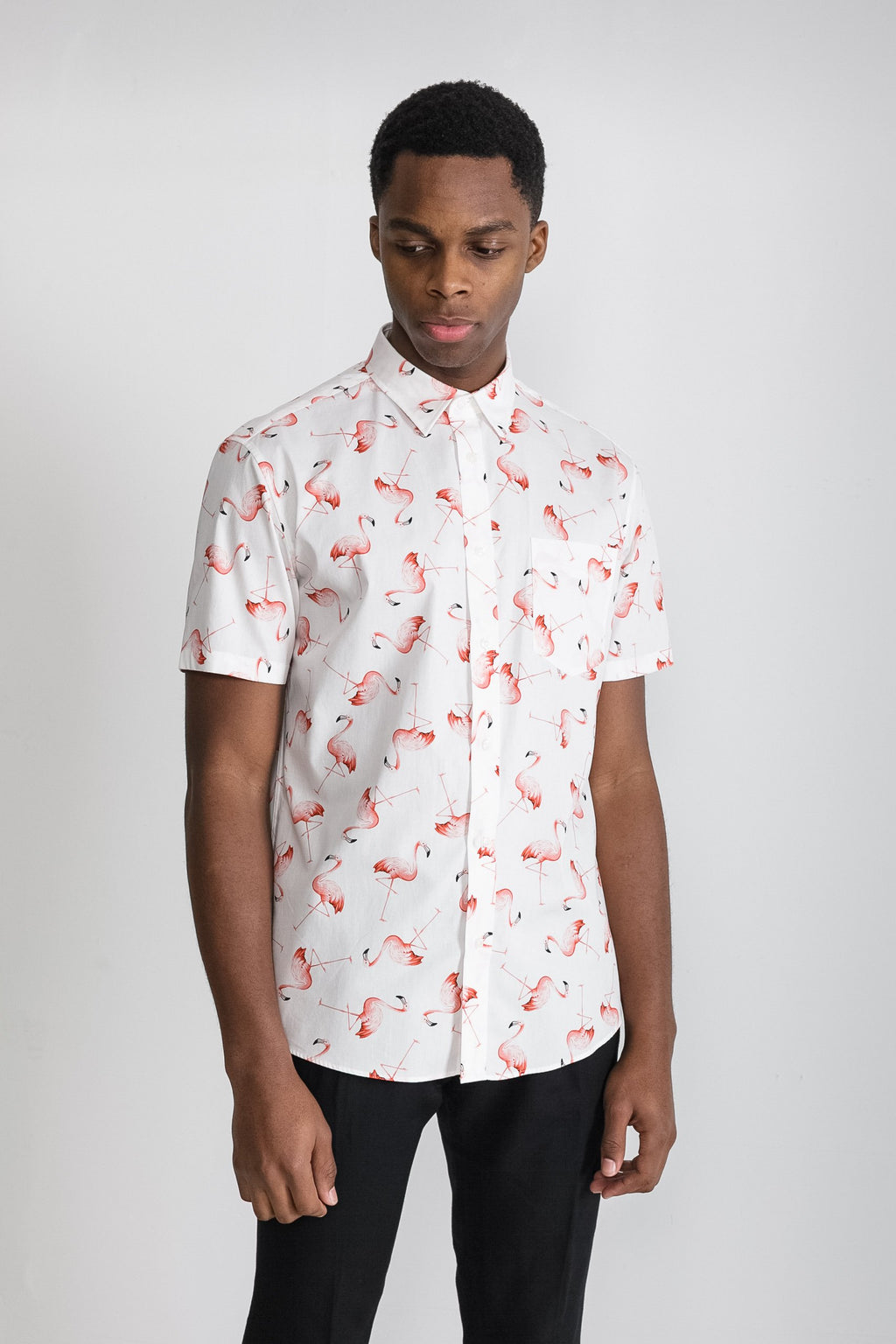 Japanese Flamingo Print in White 005
