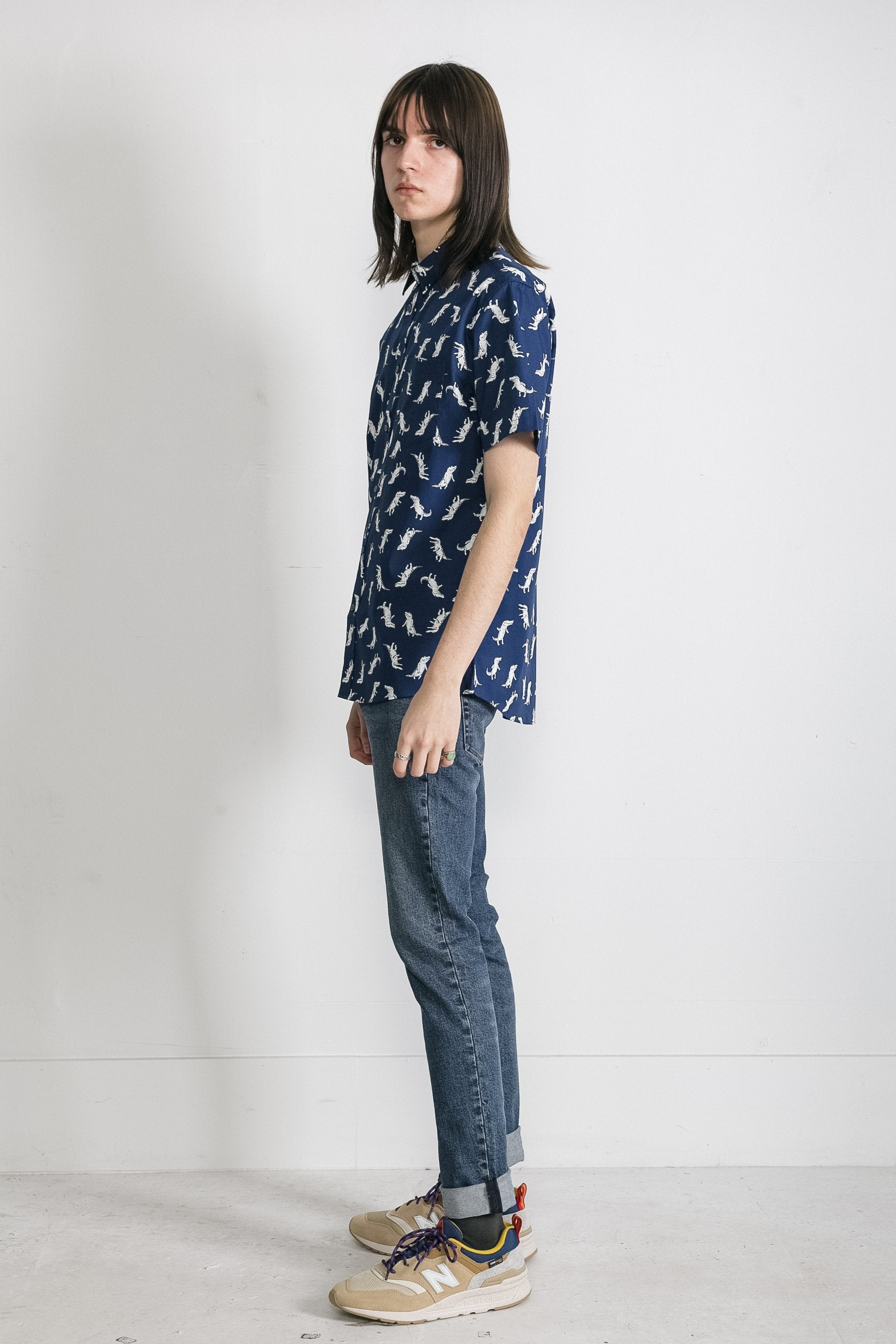 Japanese T-Rex Print in Navy 002