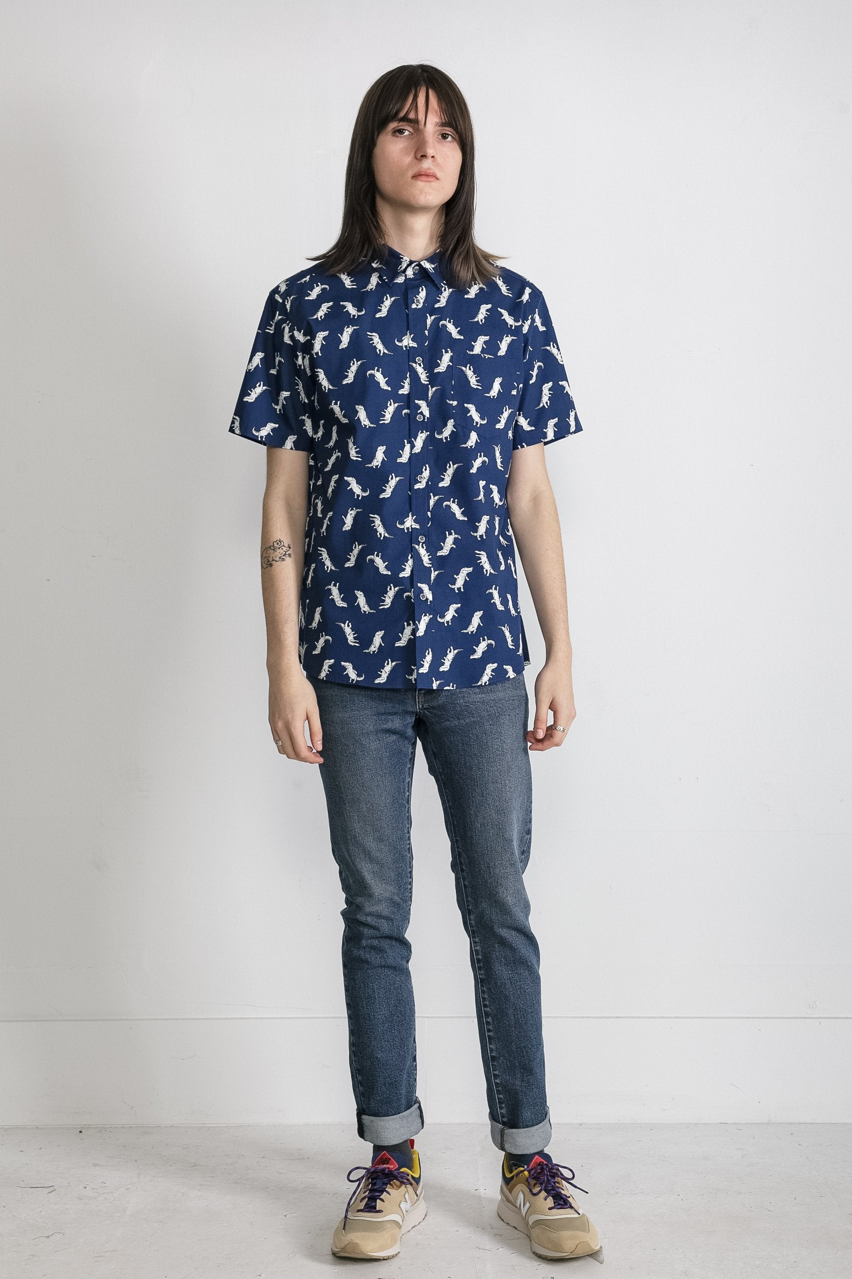 Japanese T-Rex Print in Navy 003