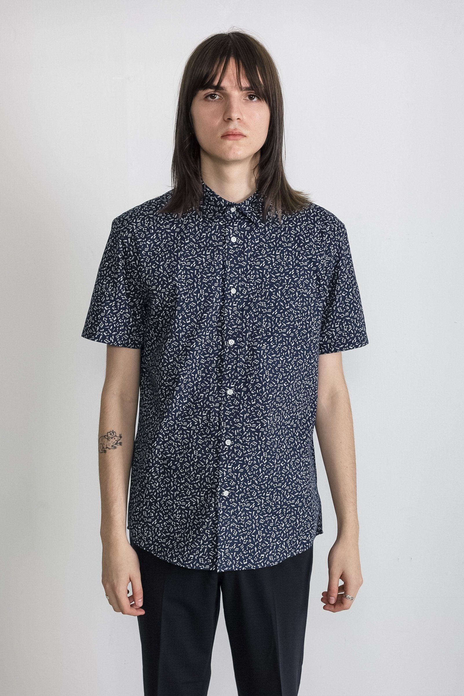 Japanese Musician Print in Navy 001