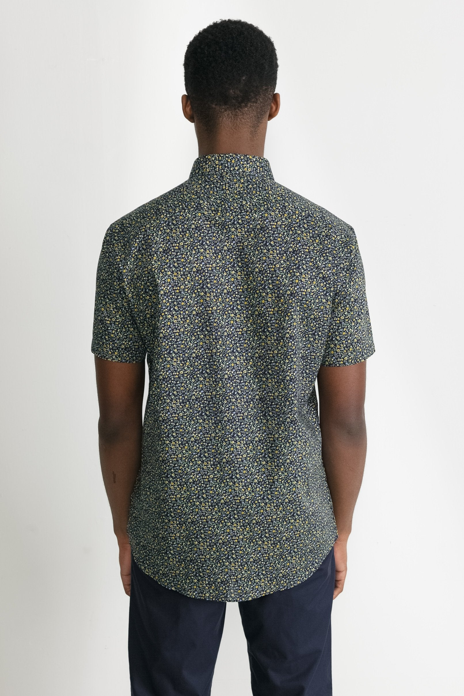 Japanese Floral Print in Navy and Mustard 005