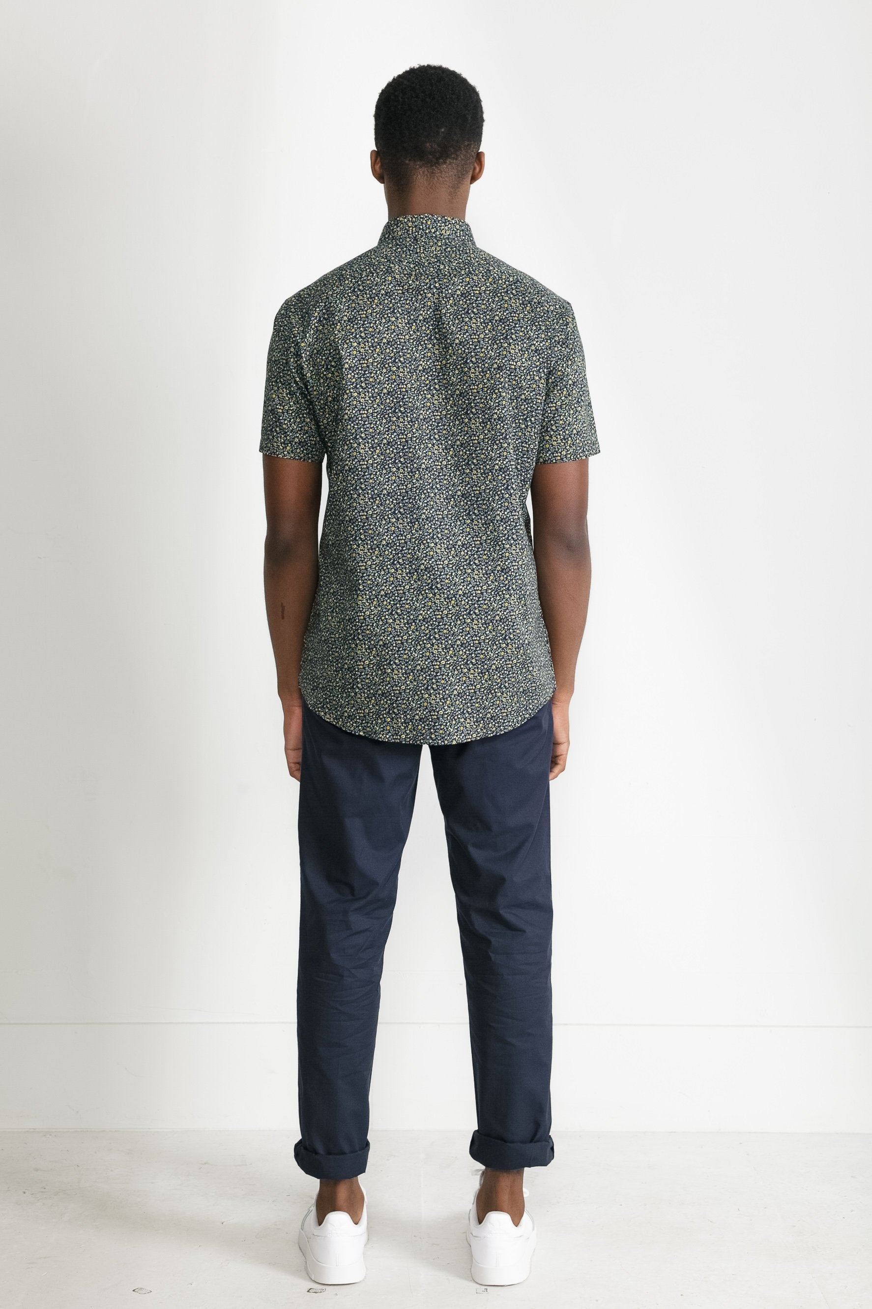 Japanese Floral Print in Navy and Mustard 003