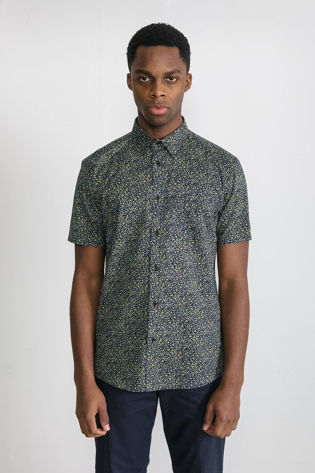 Japanese Floral Print in Navy and Mustard 001