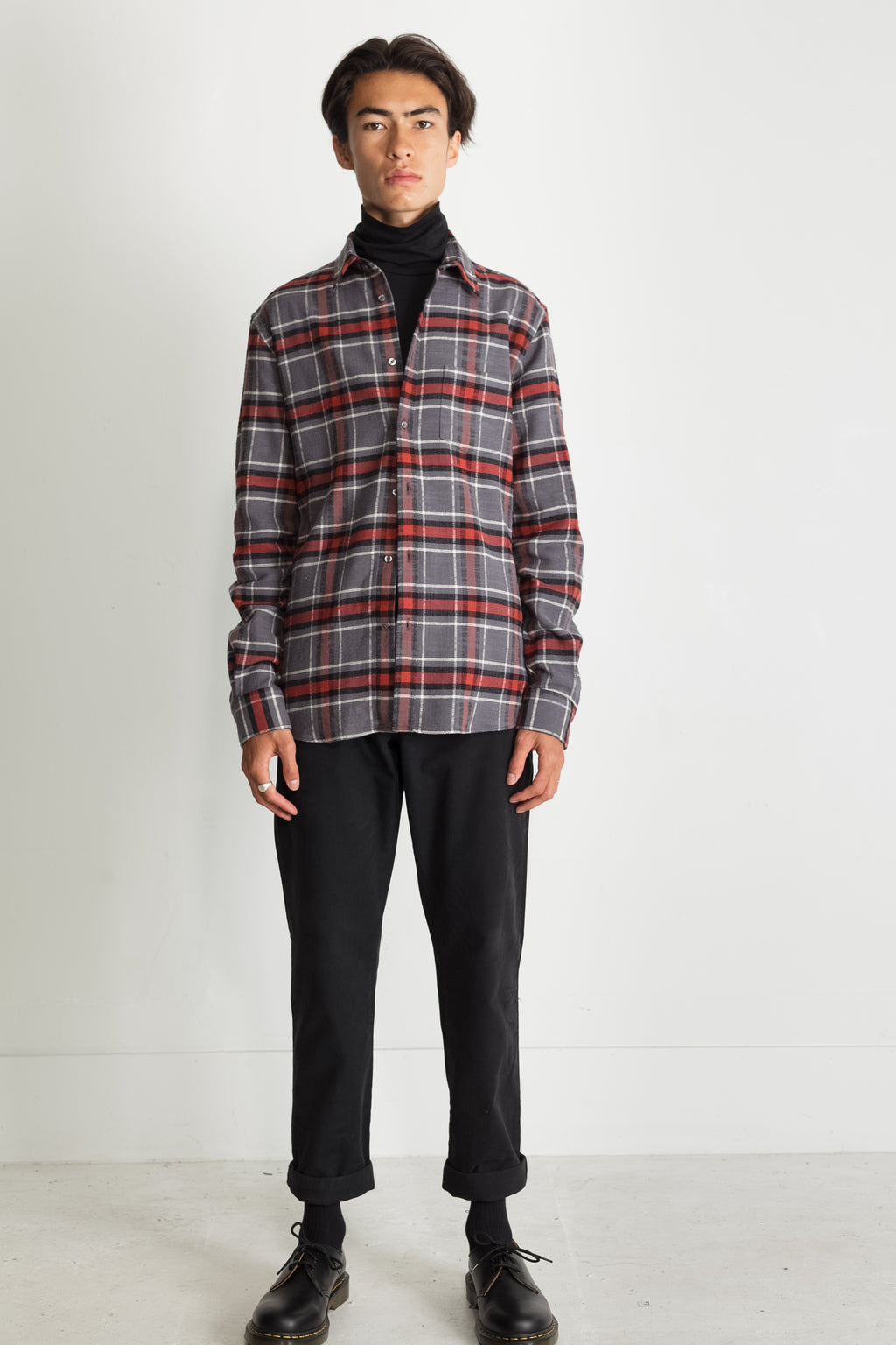 Japanese Cassidy Plaid in Grey and Rust 04