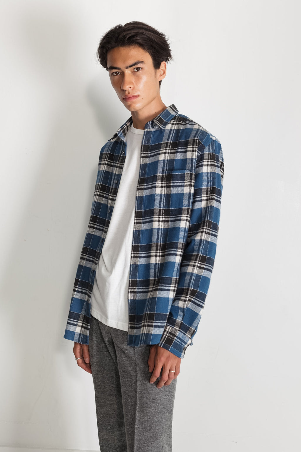 Japanese Wesley Plaid in Blue and Grey 01