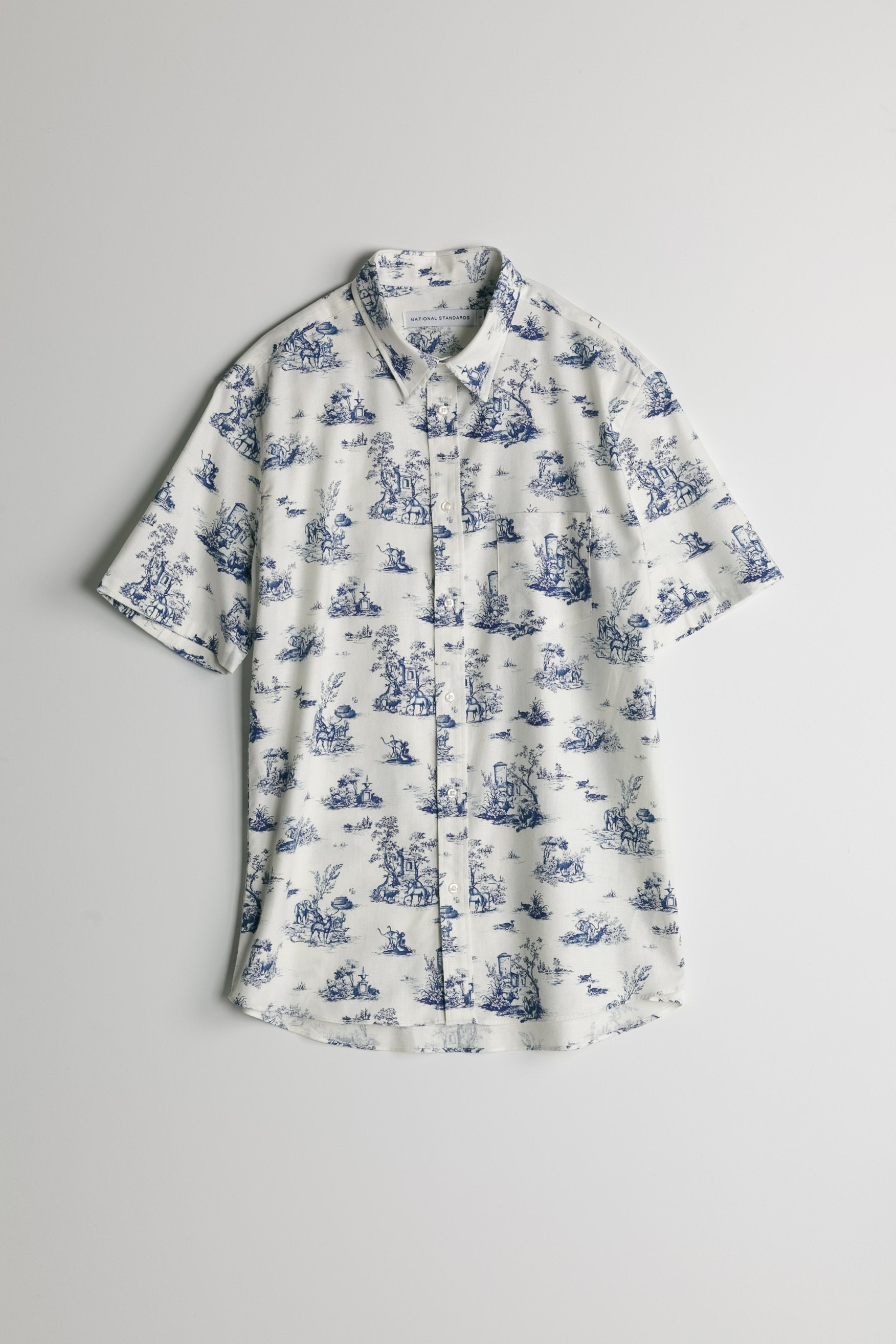 Japanese Safari Print in White and Blue 07