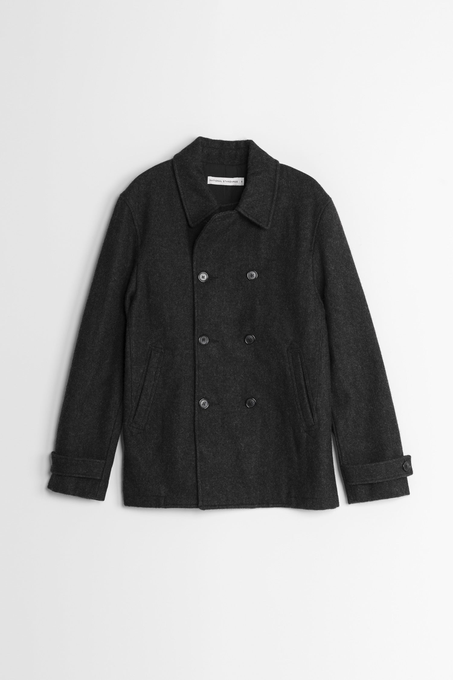 Japanese Melton Pea Coat in Grey