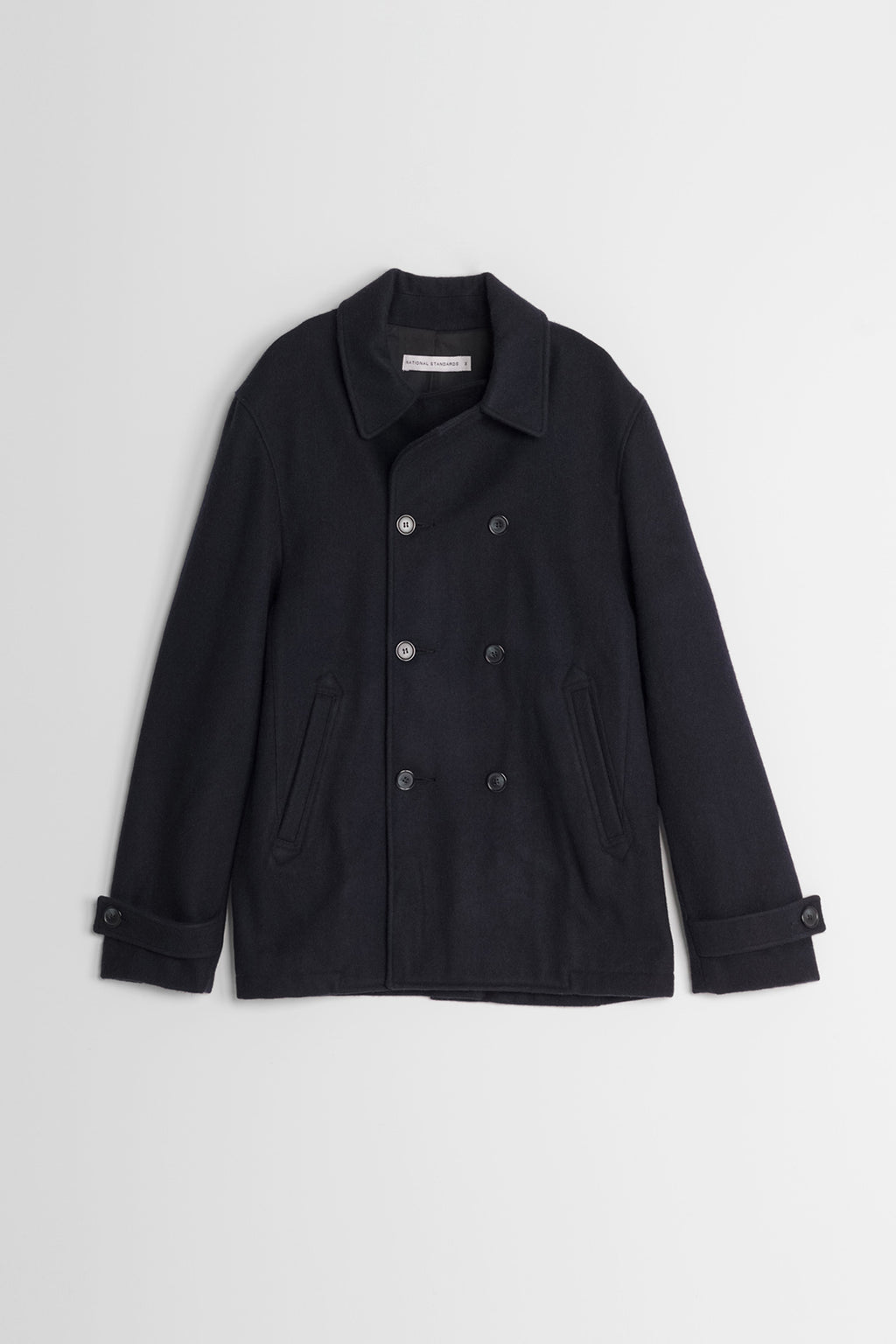 Japanese Melton Pea Coat in Navy