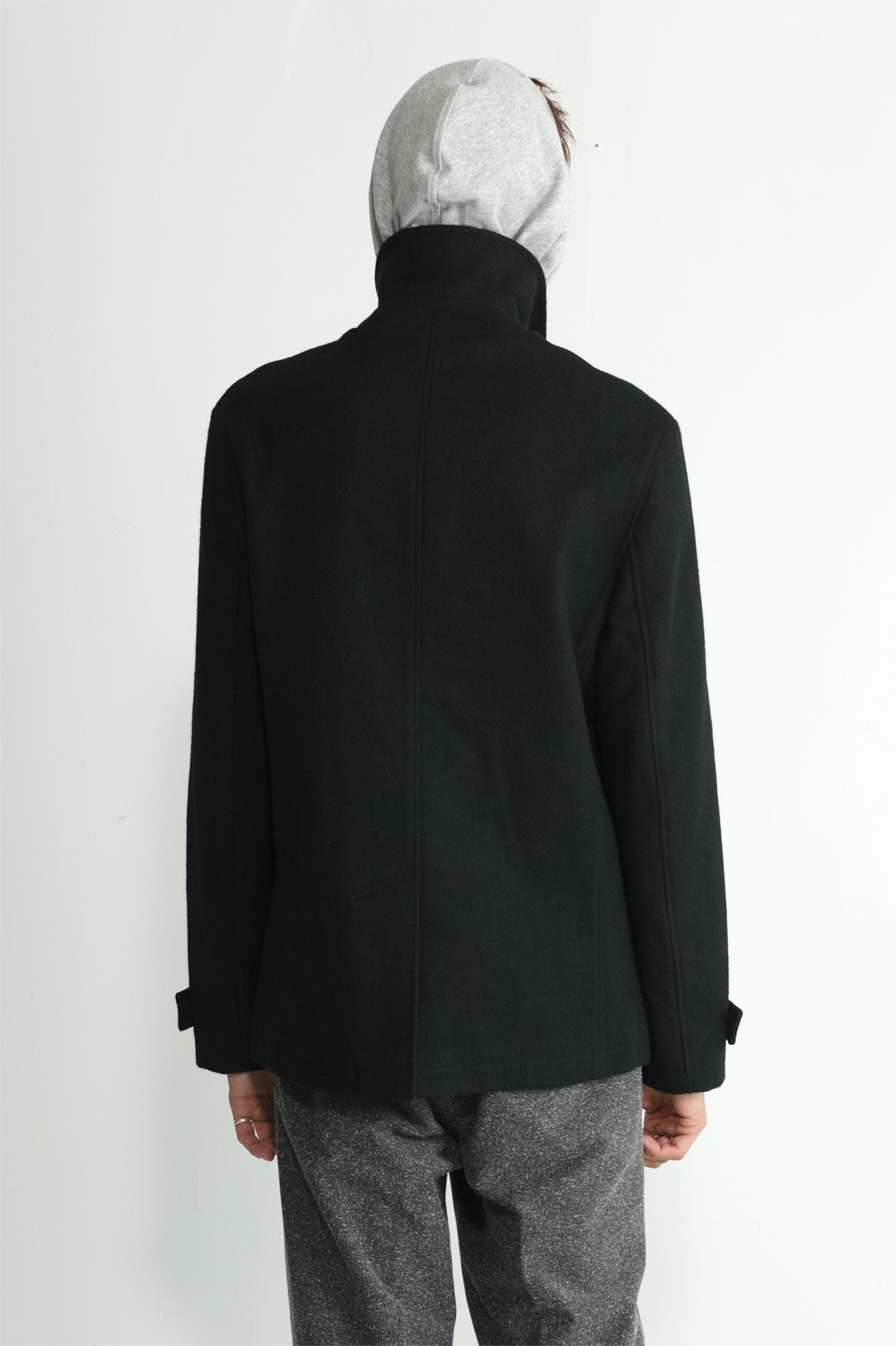 Japanese Loden Pea Coat in Black