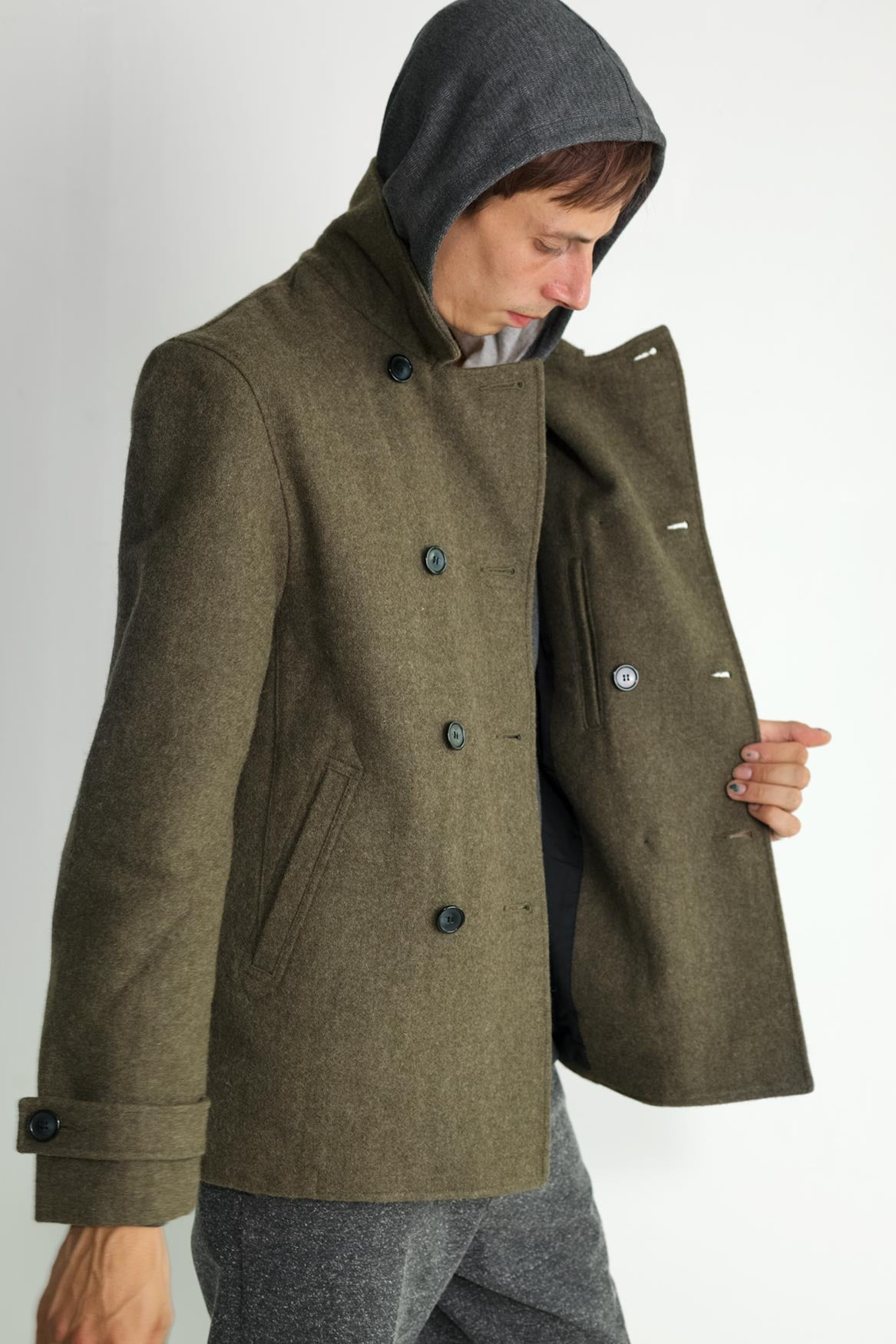 Japanese Loden Pea Coat in Army Green