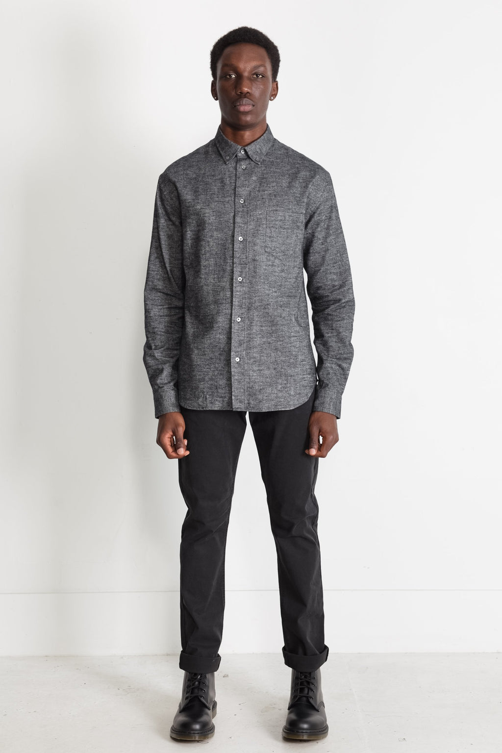 Japanese Brushed Twill Flannel in Black 02