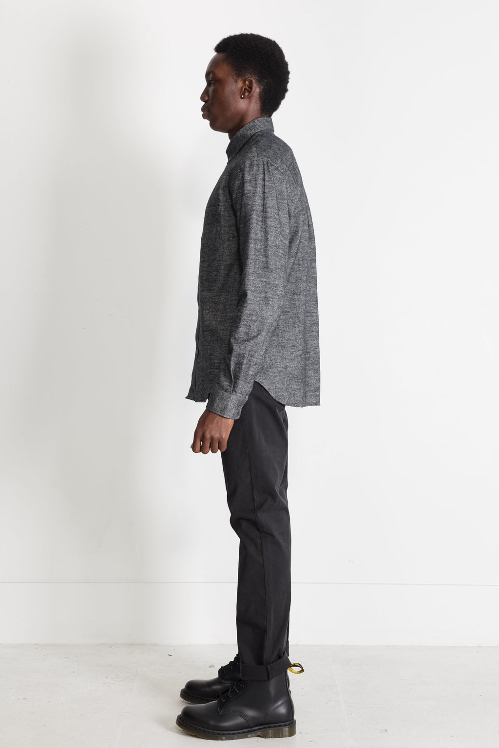 Japanese Brushed Twill Flannel in Black 03
