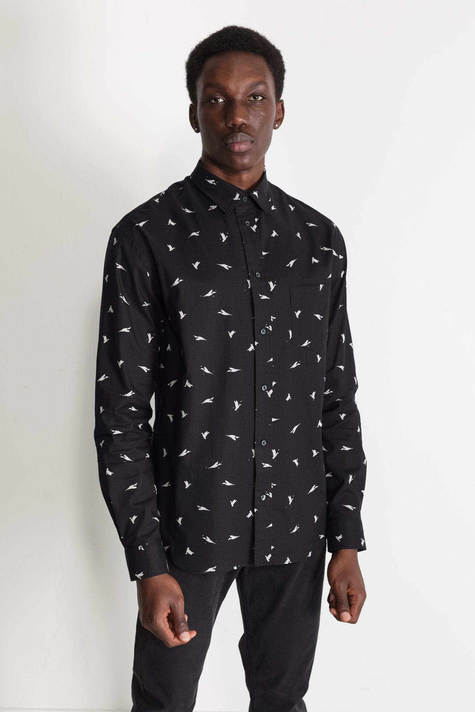 Japanese Bird Print in Black 01