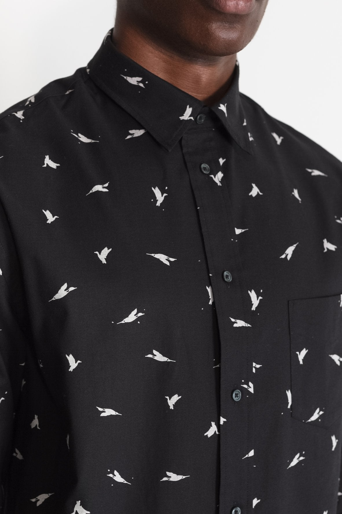 Japanese Bird Print in Black 03