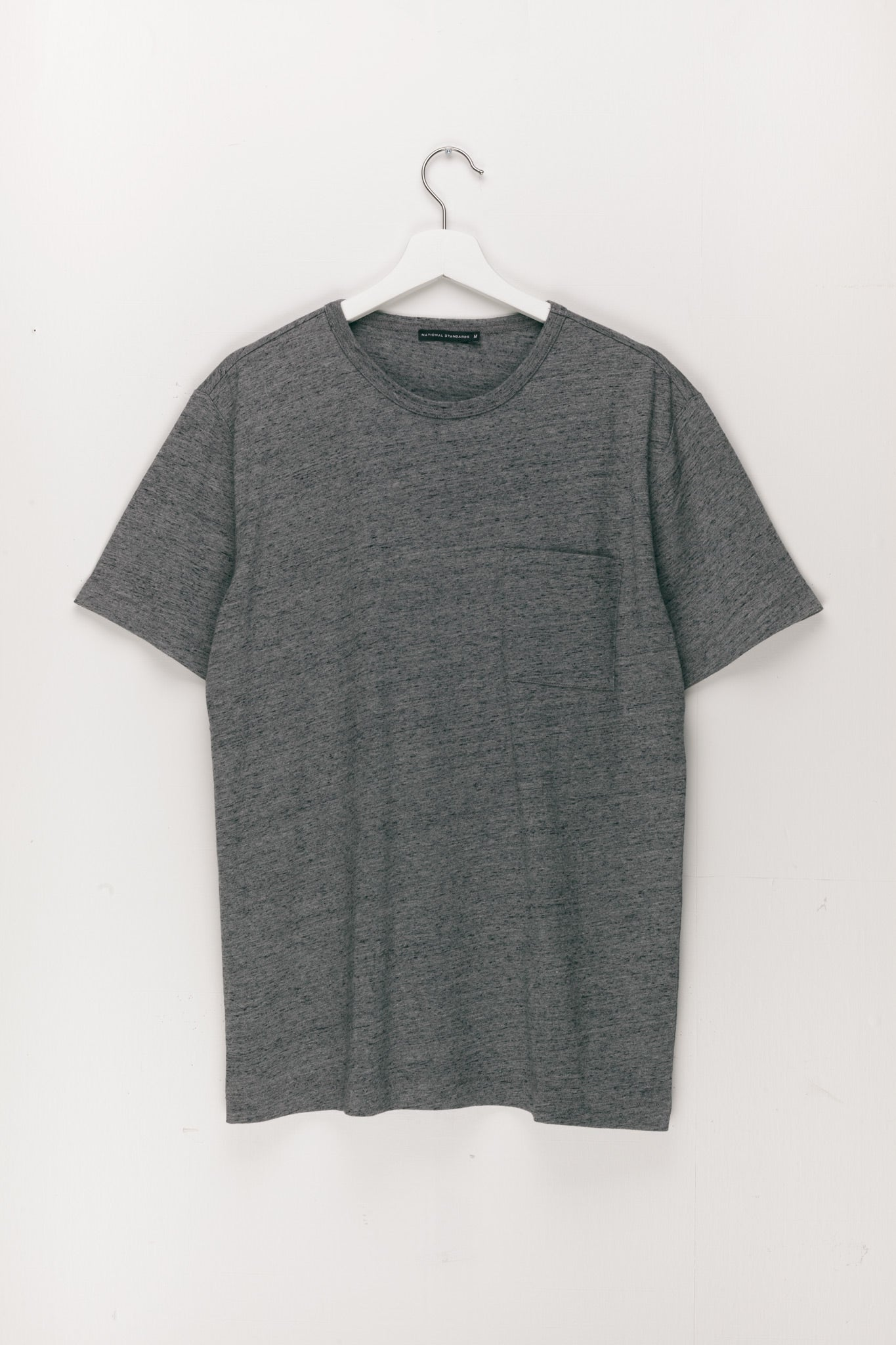 Base Jersey Pocket Crew in Melange Dark Grey