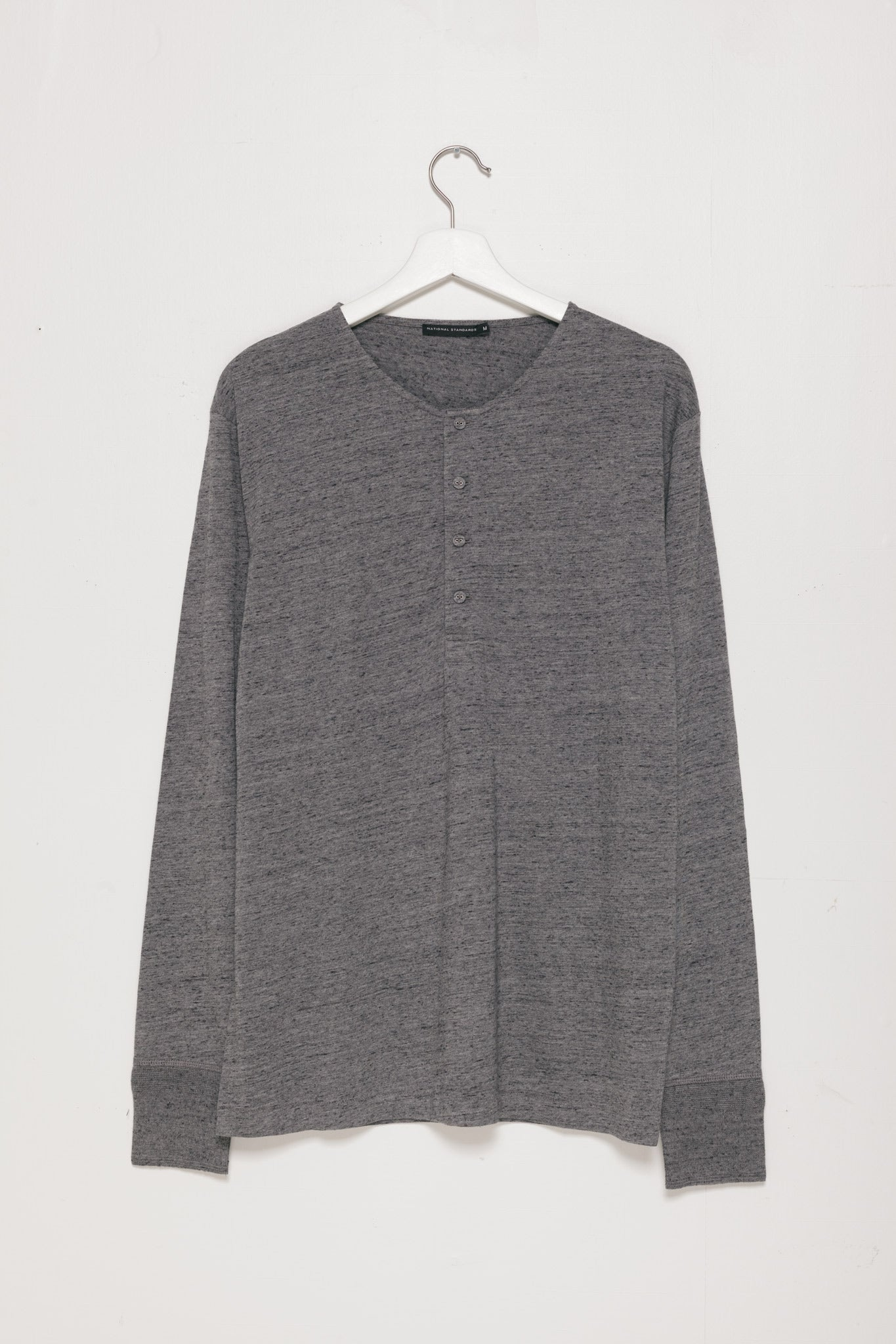 Base Jersey Henley in Melange Dark Grey