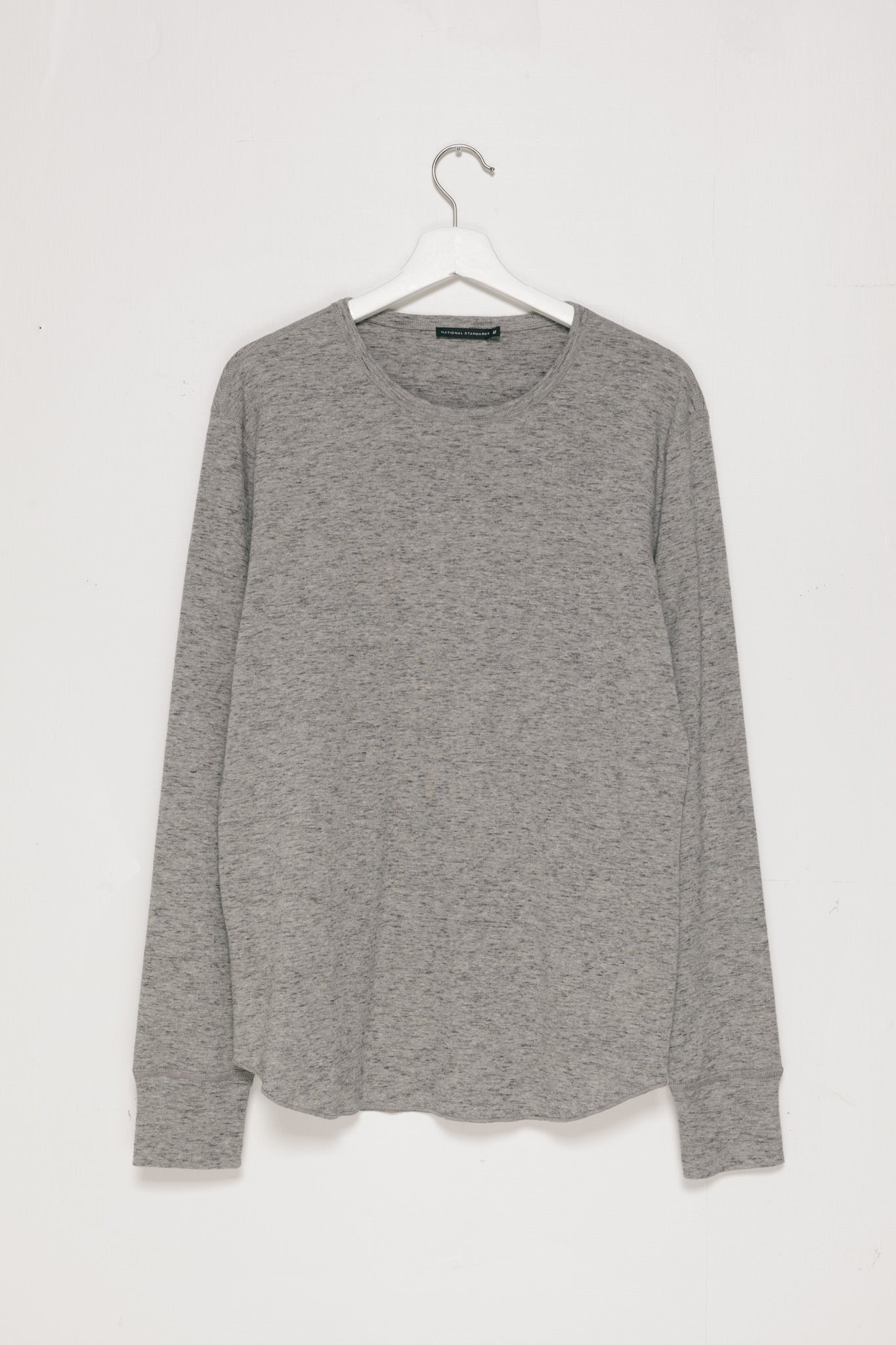 Slub 1x1 Long sleeve tee in Grey flat-lay