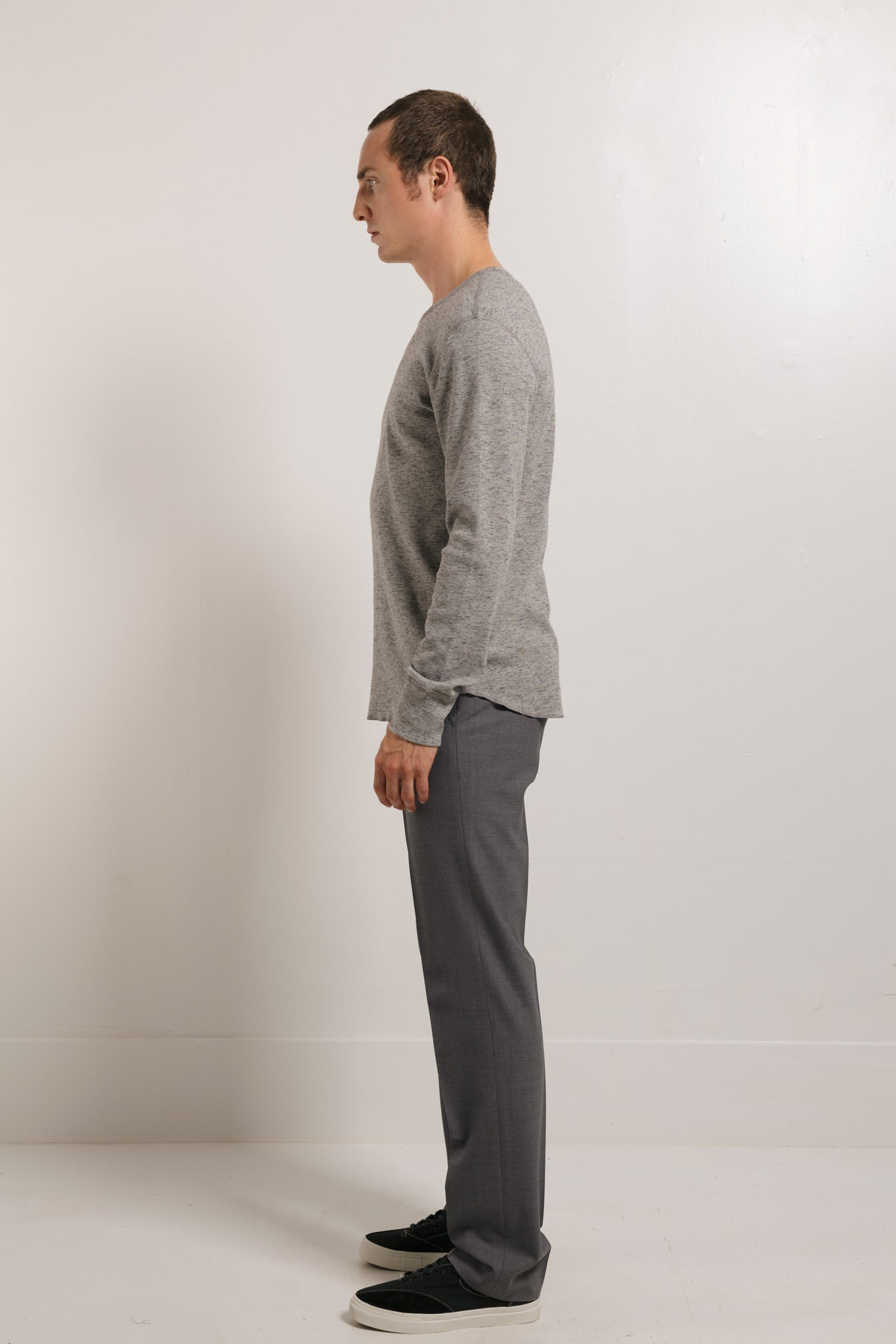 Slub 1x1 Long sleeve tee in Grey 003