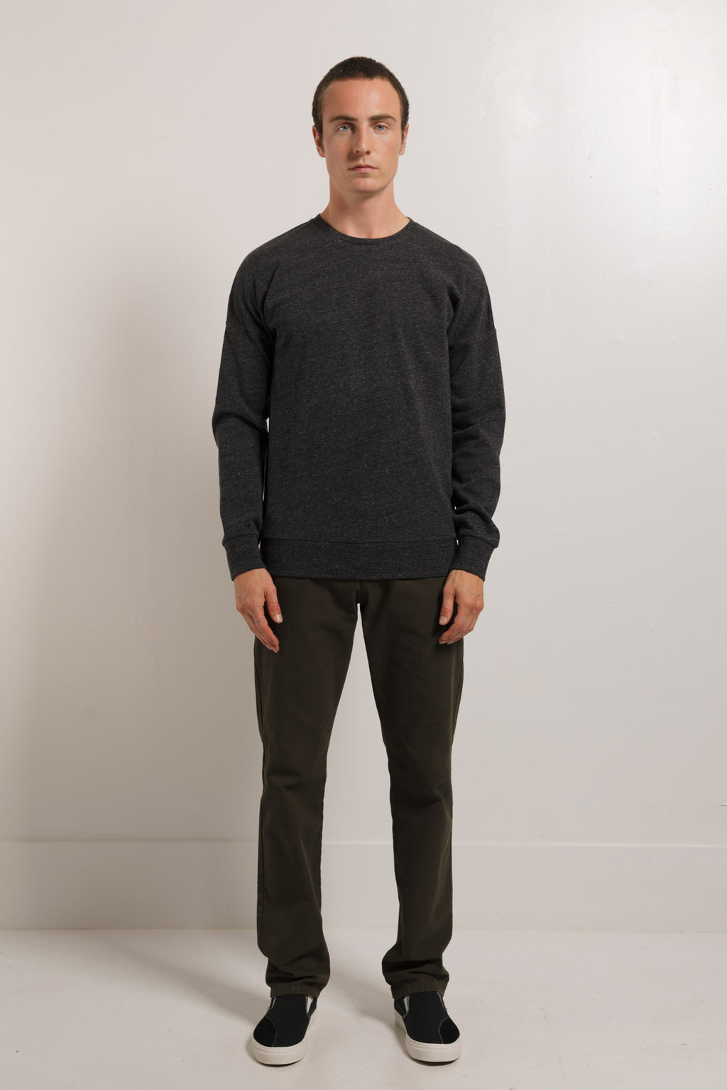 250gm French Terry Crew in Melange Black