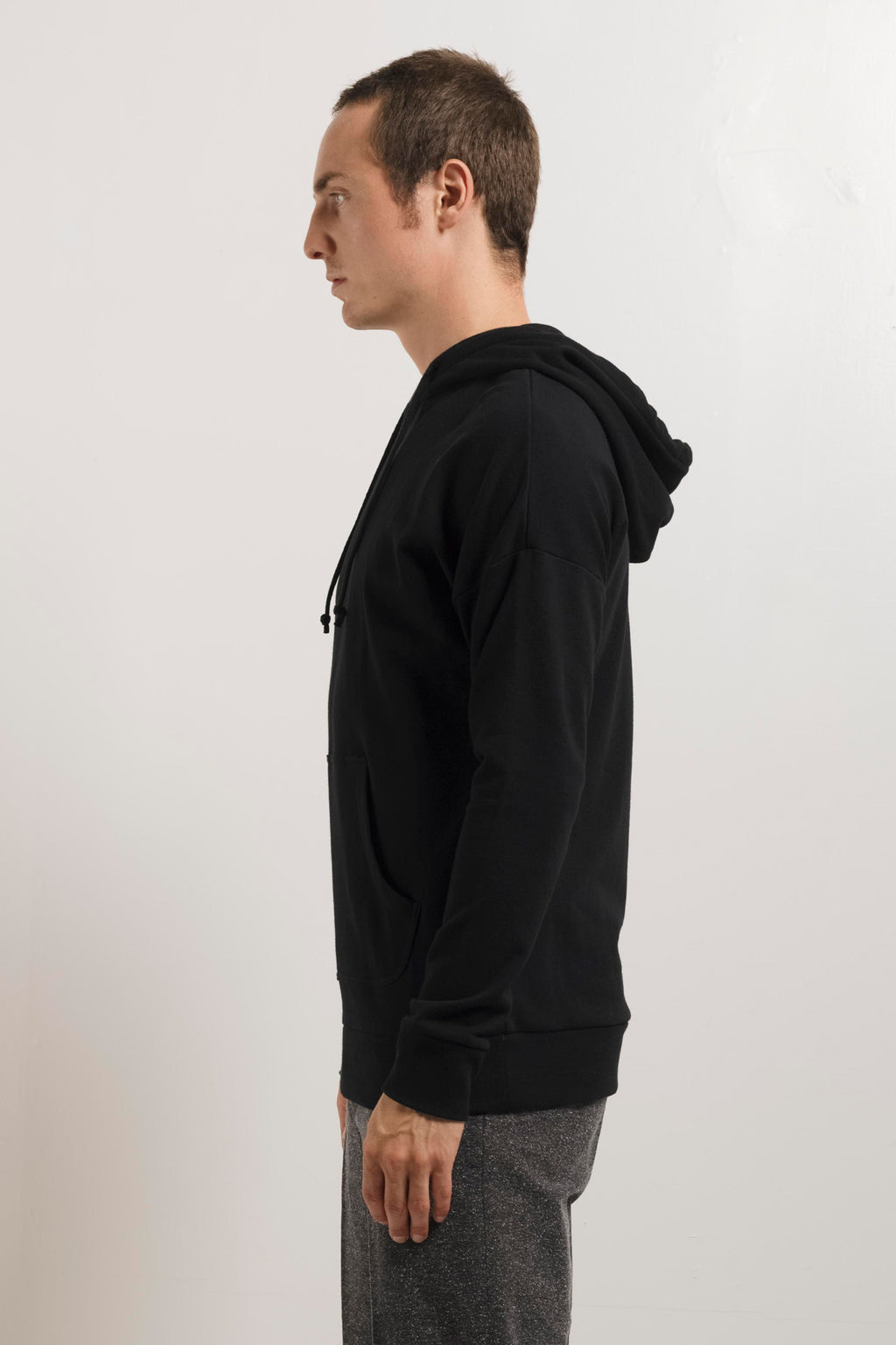 250g French Terry Pullover Hoodie in Black