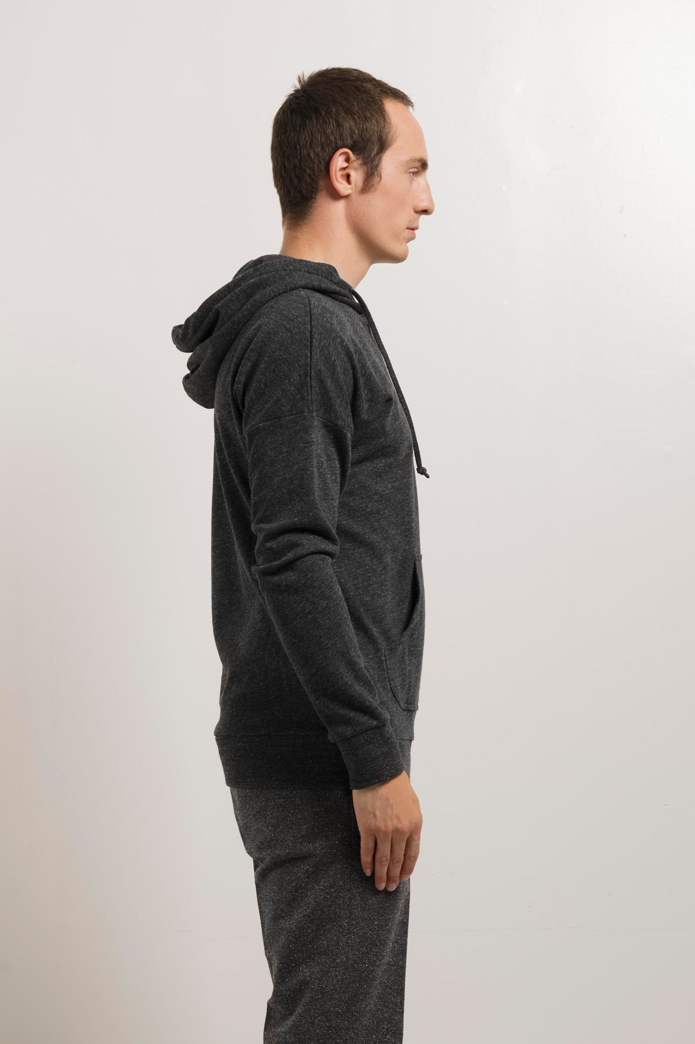 250g French Terry Pullover Hoodie in Melange Black