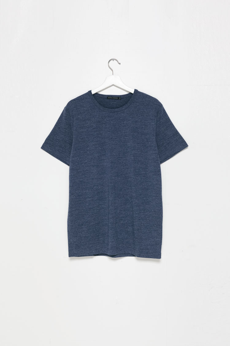 Flat lay of National Standards Tri-Blend Crew neck tee in Melange Navy
