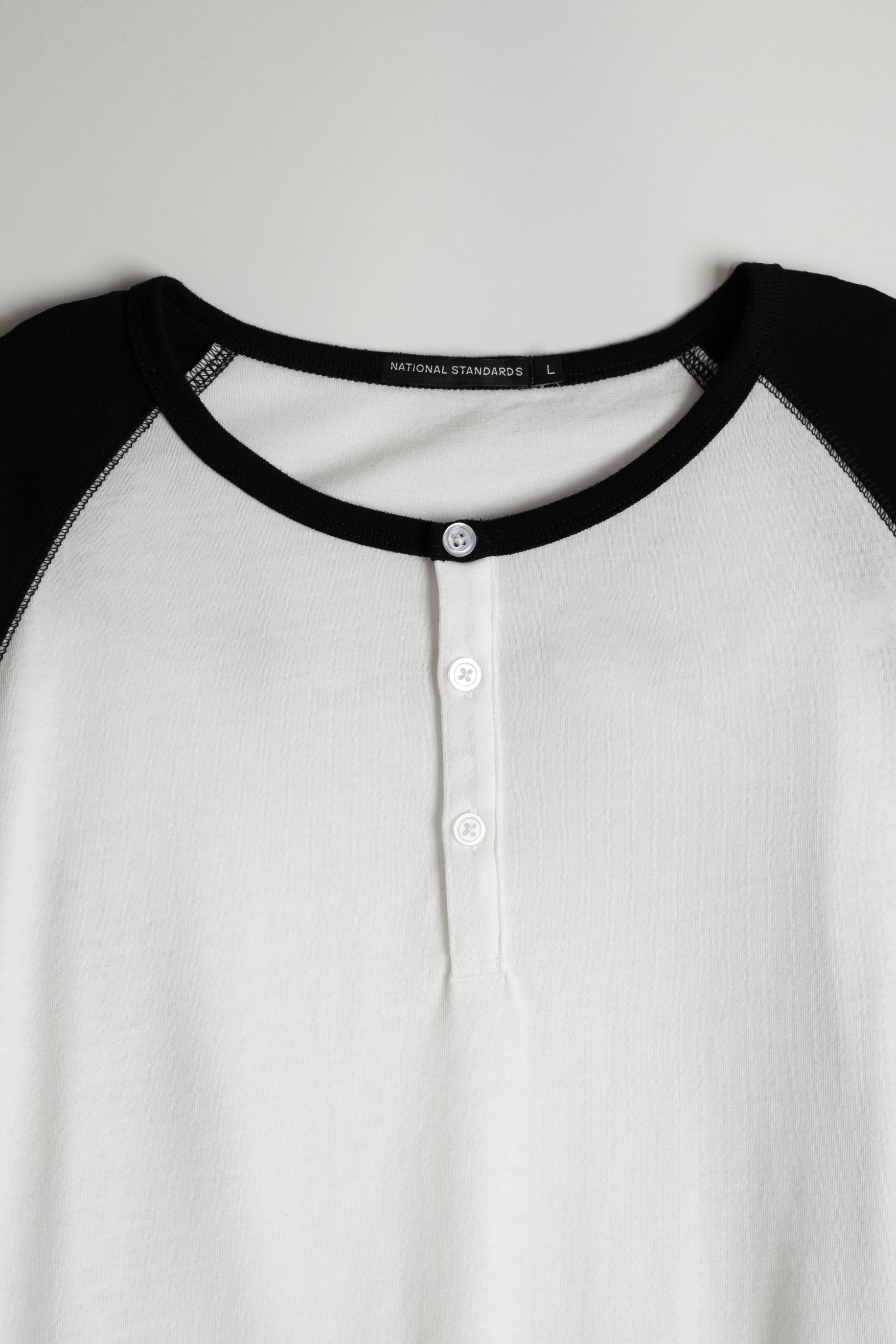 Tri-blend 3/4 henley in White and Black 06