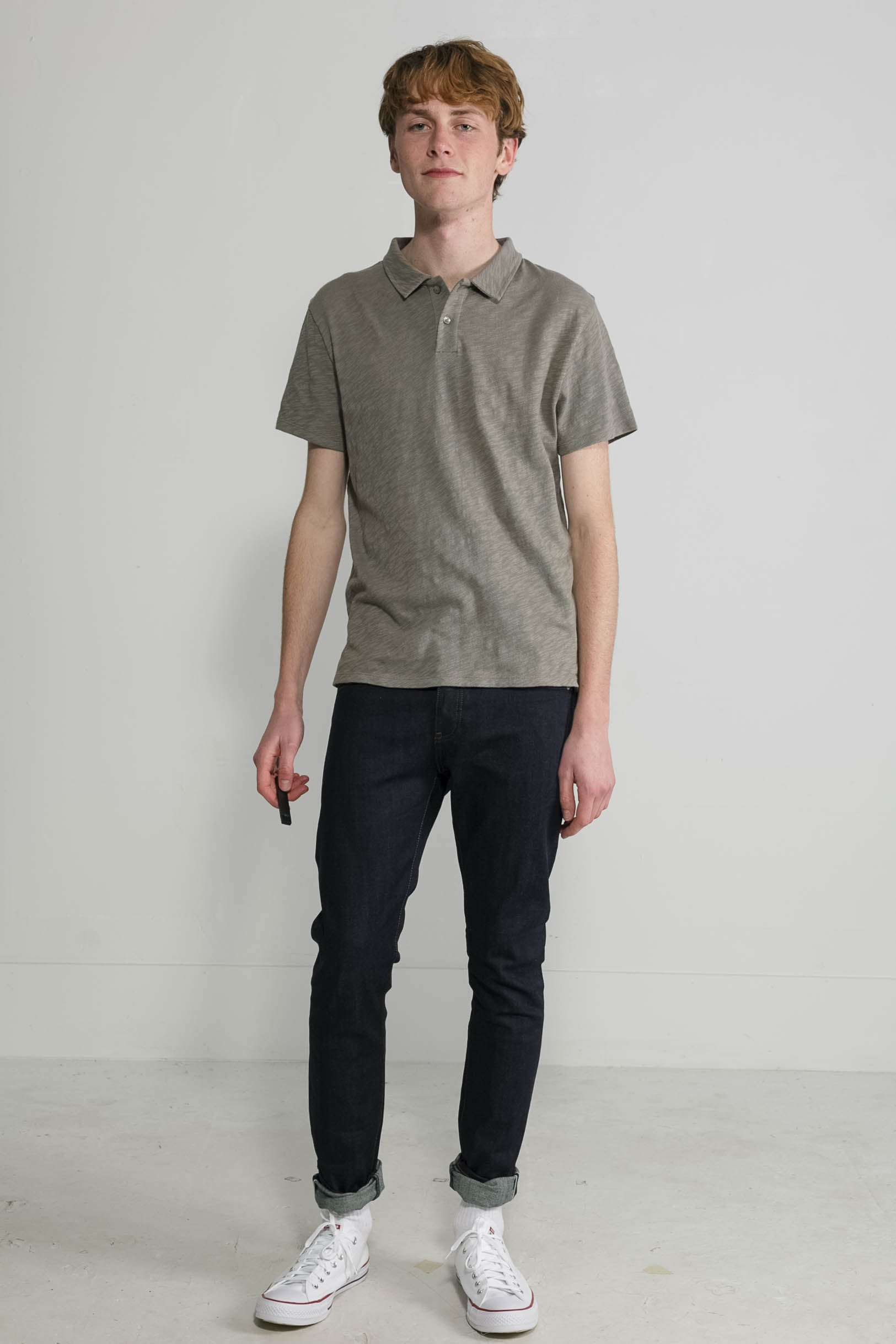 Slub Jersey Polo in Sage 001