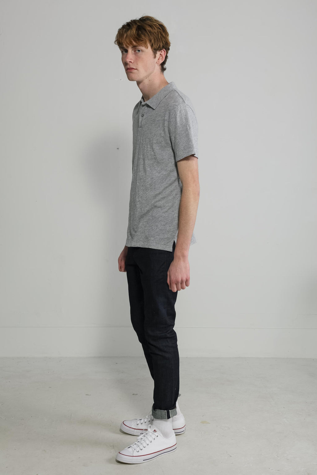 Slub Jersey Polo in Melange Grey 003