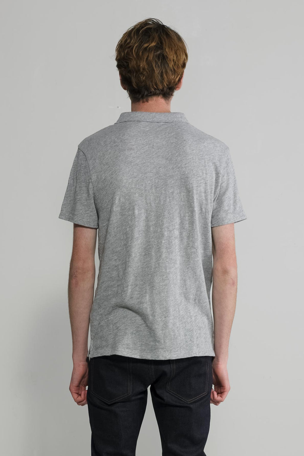 Slub Jersey Polo in Melange Grey 004