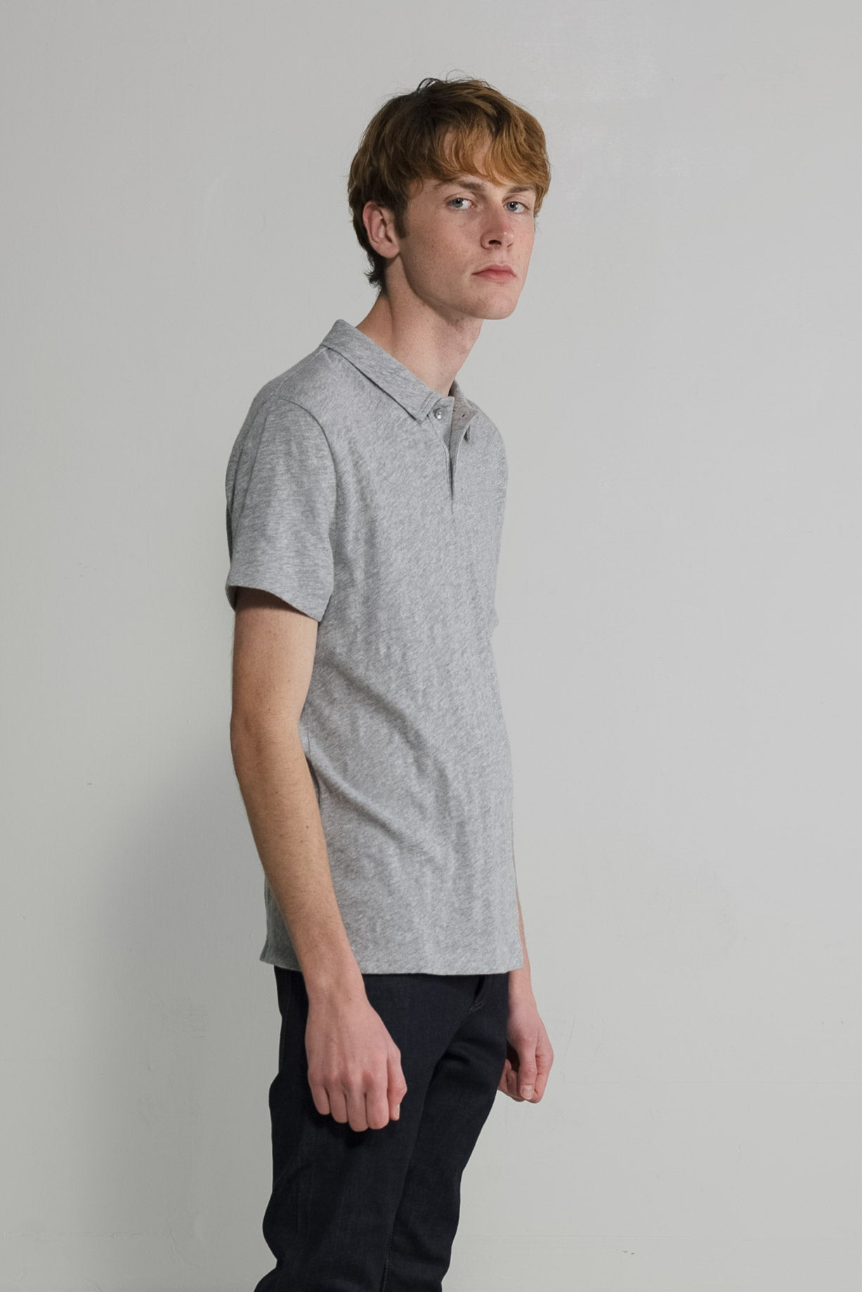 Slub Jersey Polo in Melange Grey 005