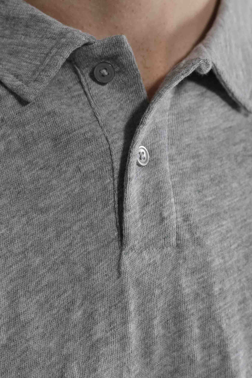 Slub Jersey Polo in Melange Grey 002