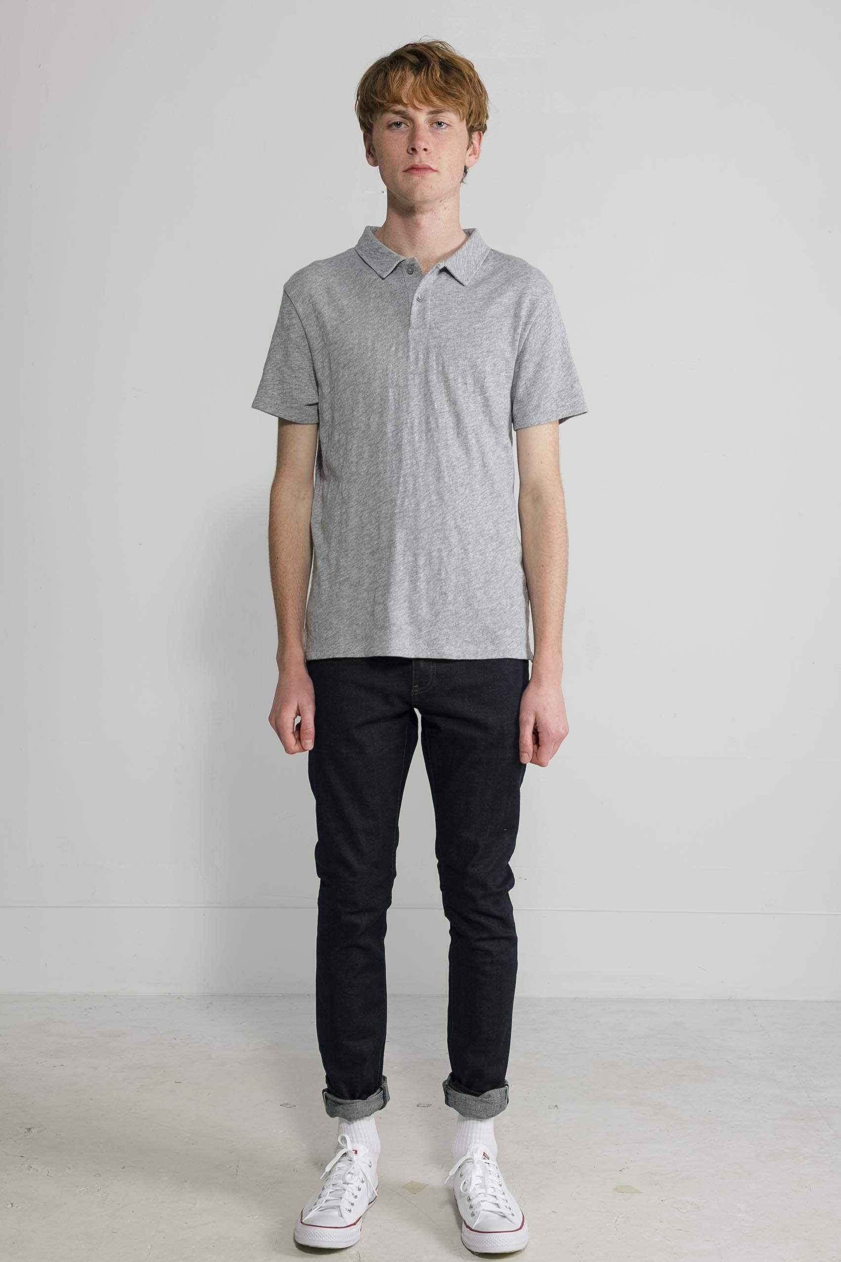 Slub Jersey Polo in Melange Grey 001