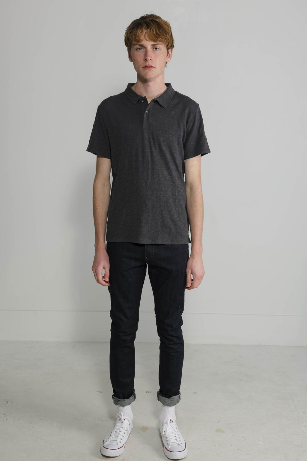 Slub Jersey Polo in Slate 001