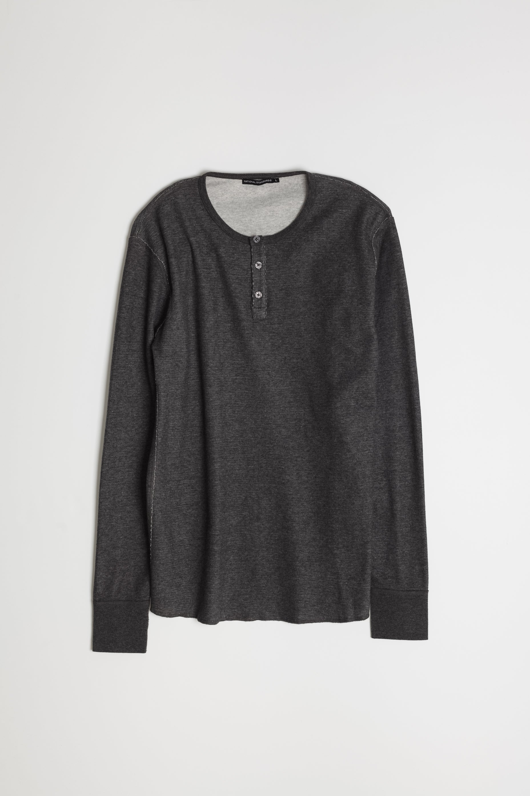 mesh thermal henley in melange charcoal 07