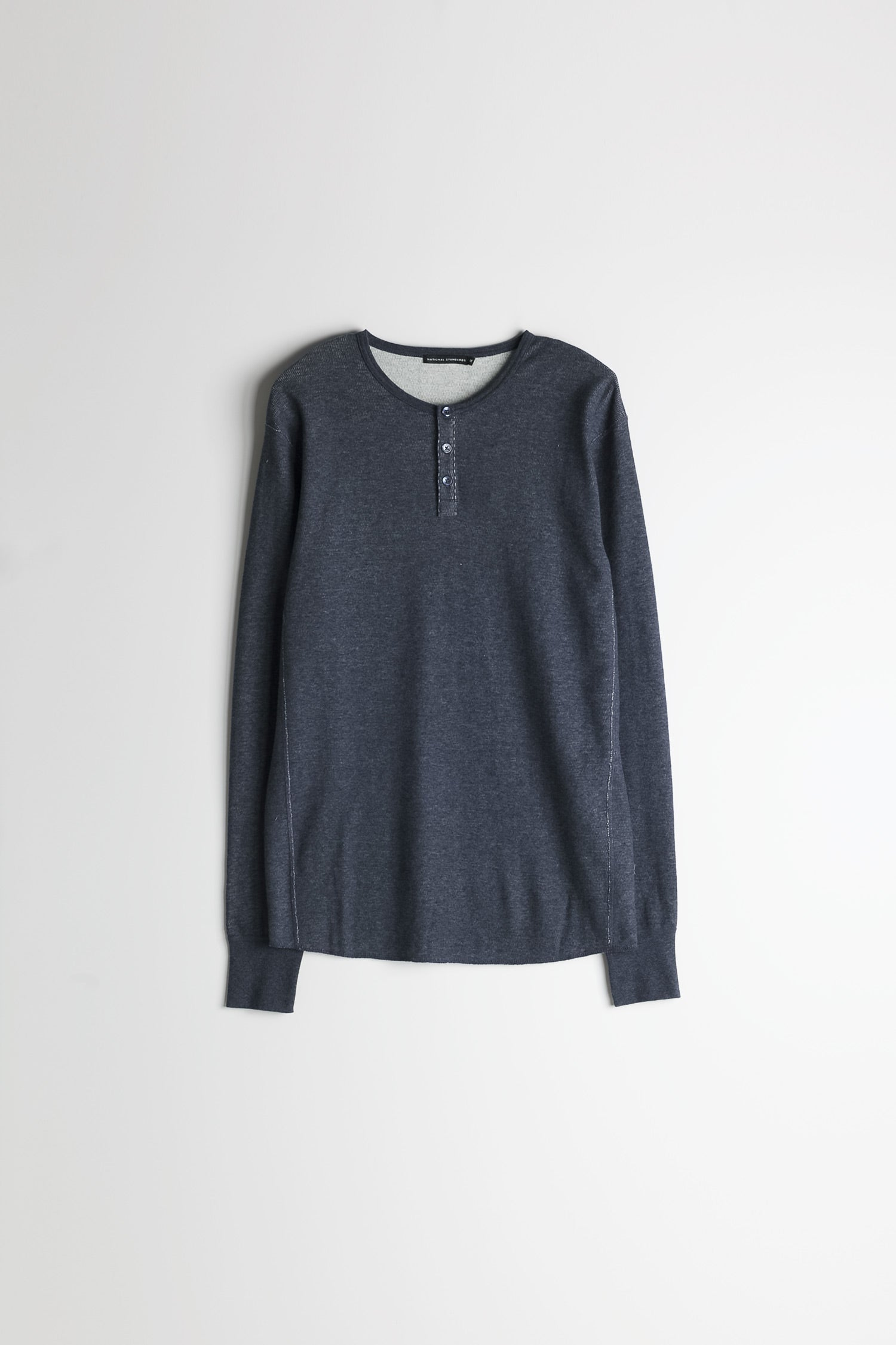 Mesh Thermal Henley in Melange Navy