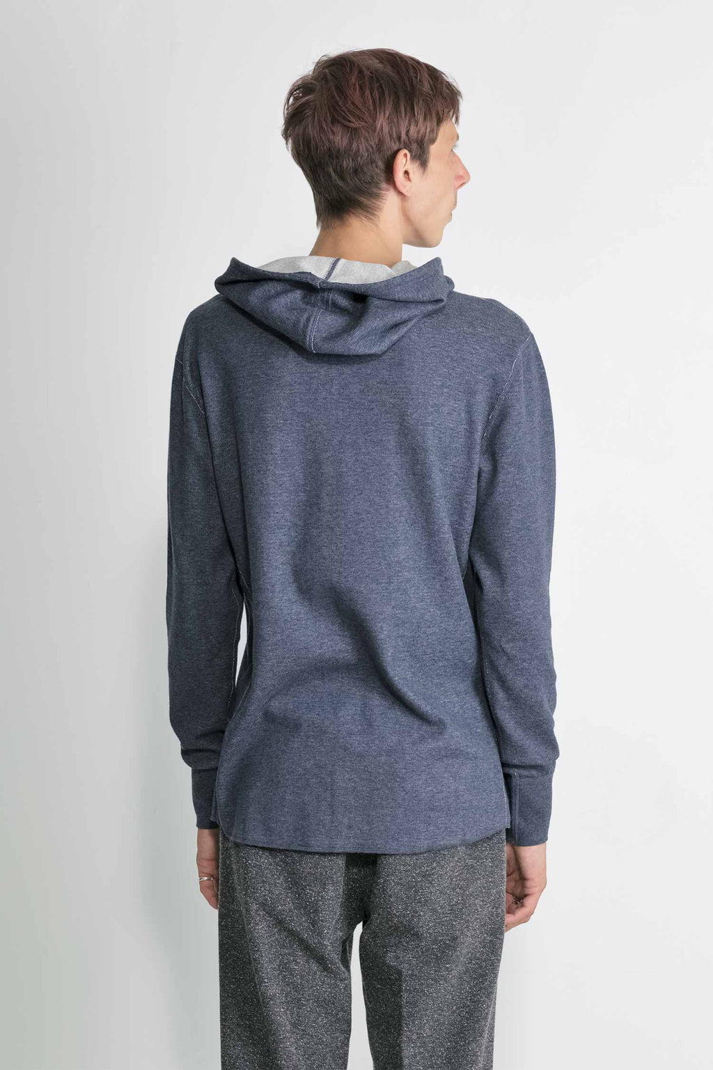 Mesh Thermal Pullover Hoodie in Melange Navy