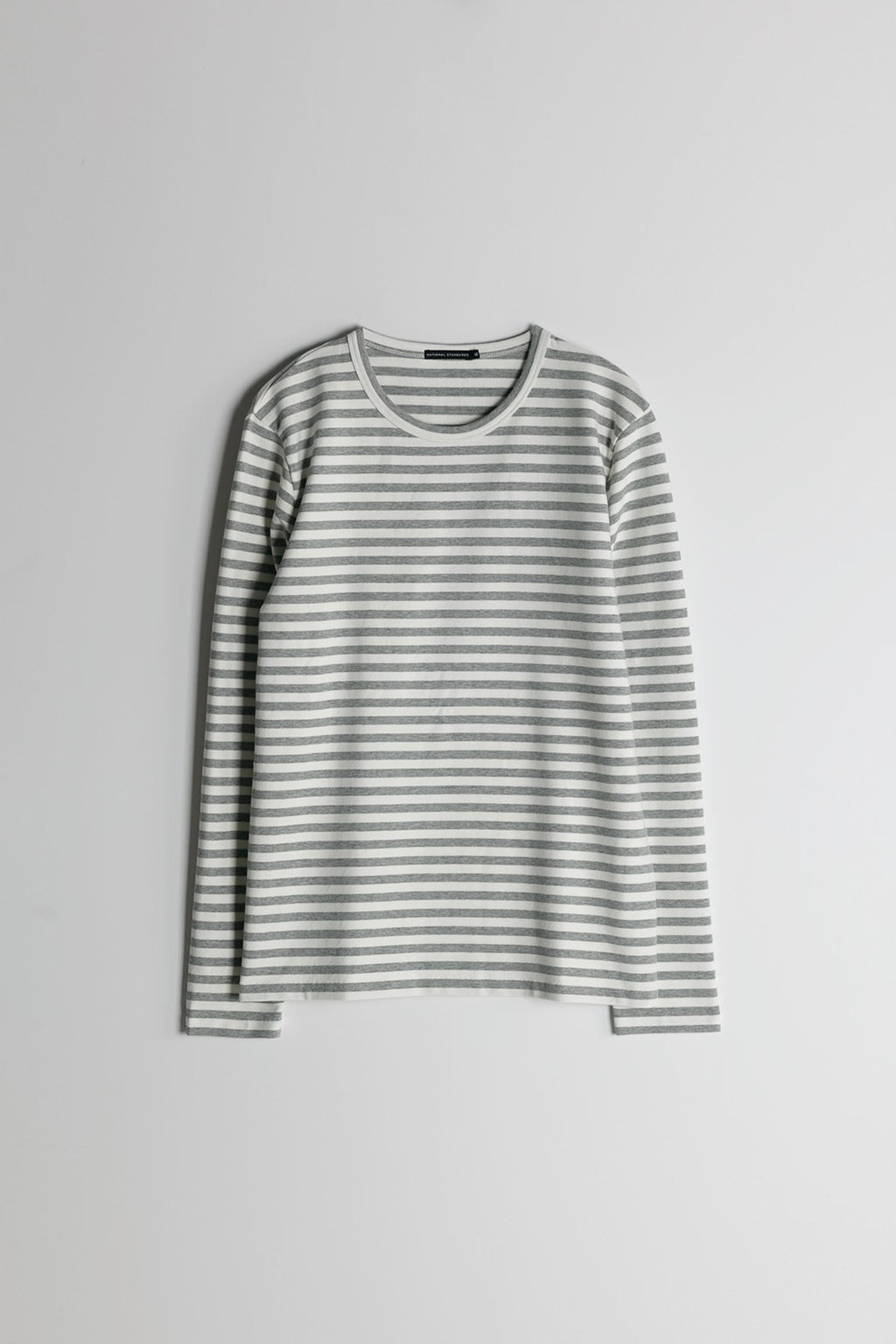 Marine Stripe L/S Crew in Grey and White