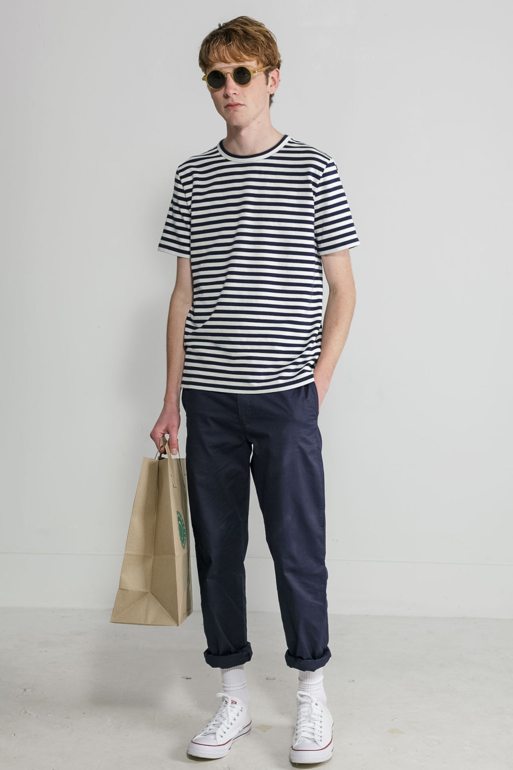 Marine Stripe Crew in Navy and White 001