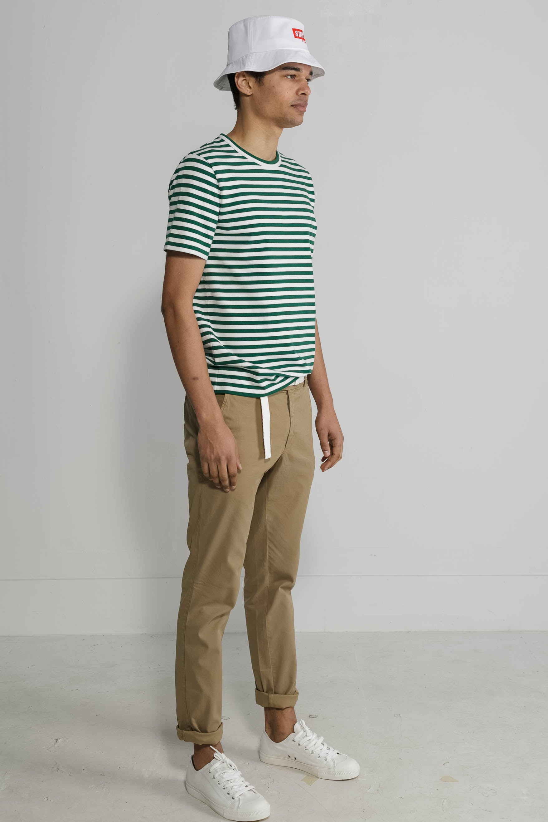 Marine Stripe Crew in White and Green 004