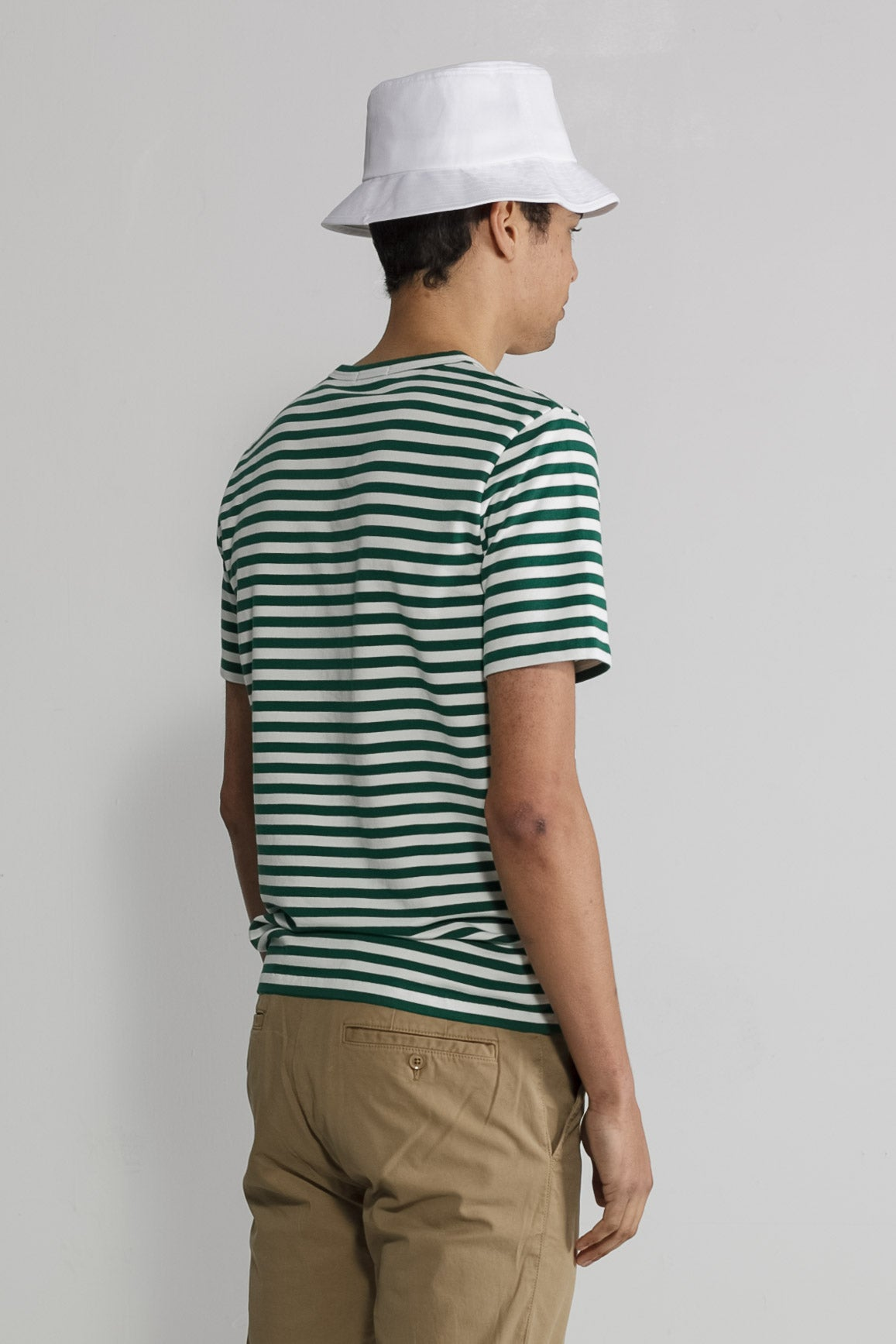 Marine Stripe Crew in White and Green 003