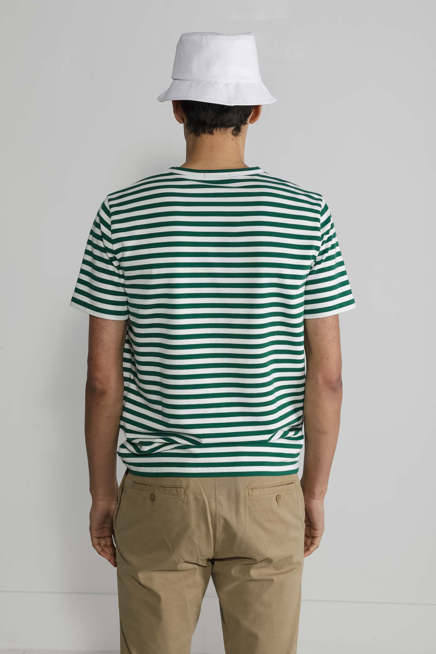 Marine Stripe Crew in White and Green 002