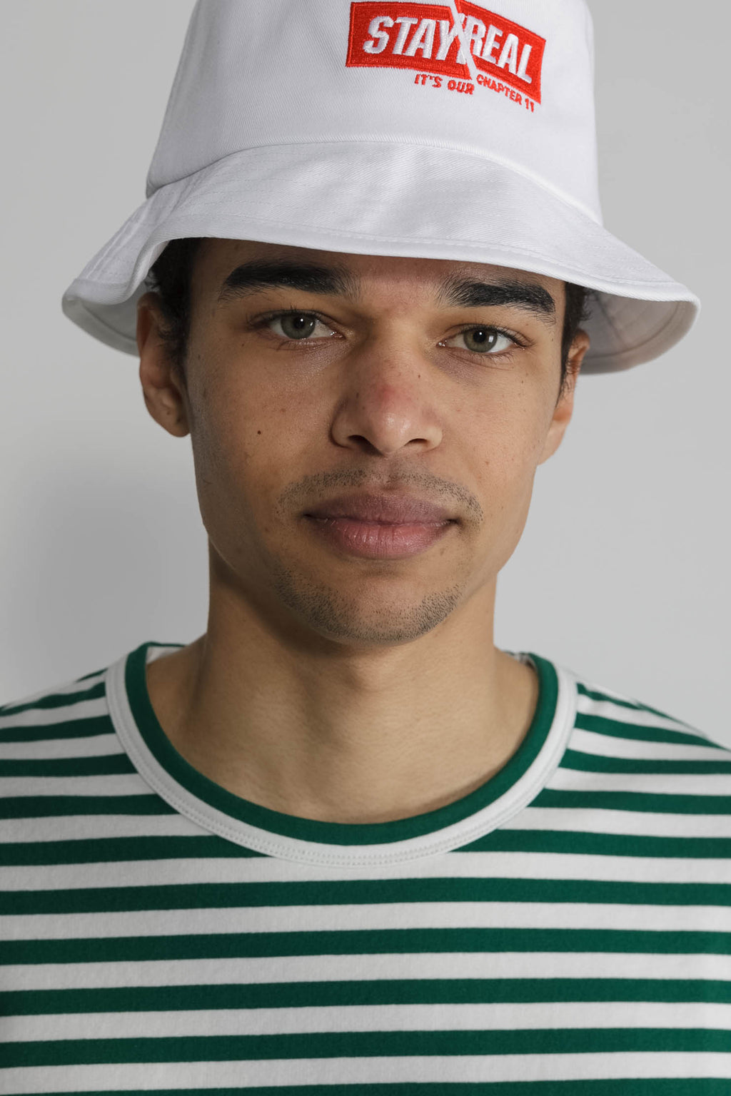 Marine Stripe Crew in White and Green 006