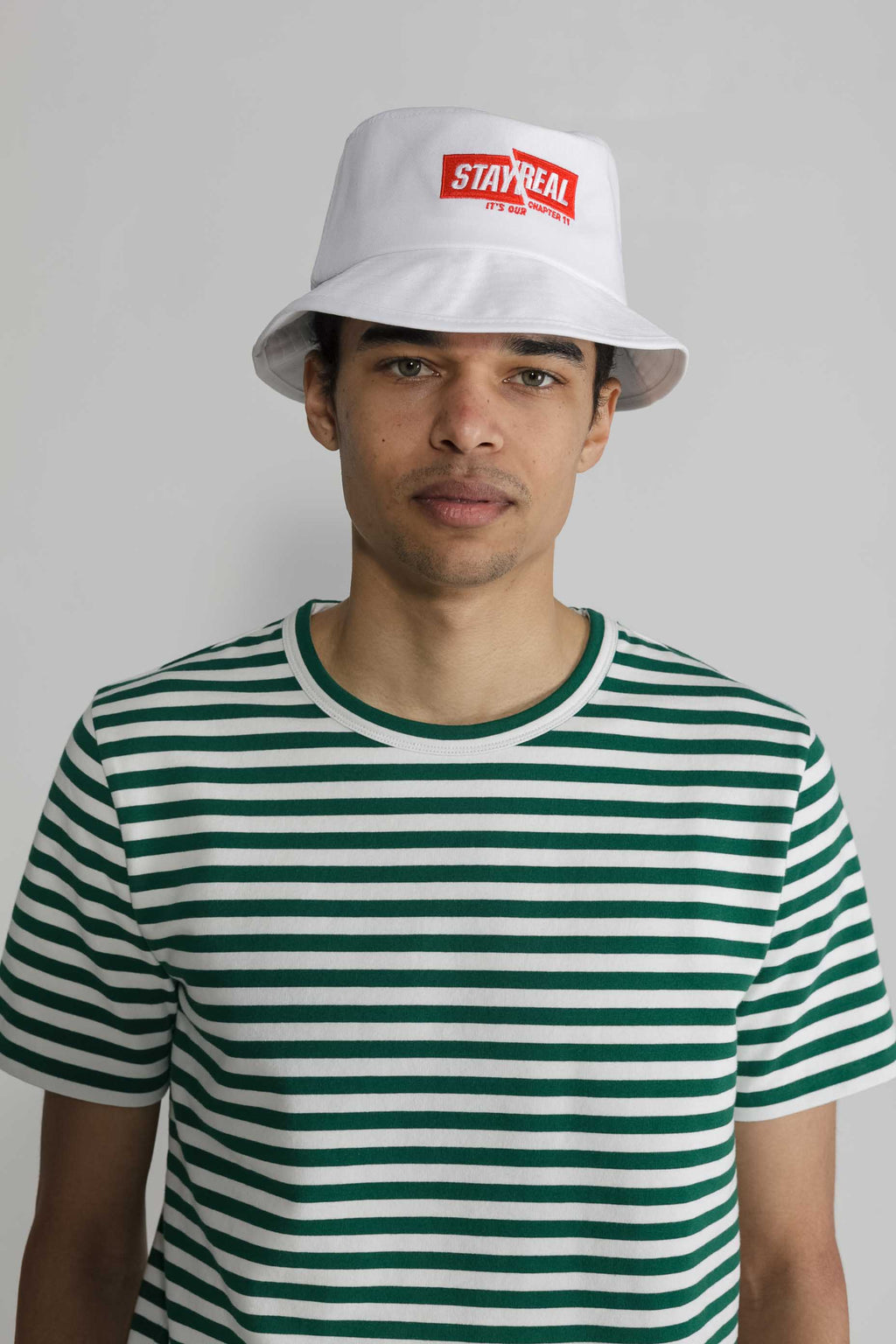 Marine Stripe Crew in White and Green 005