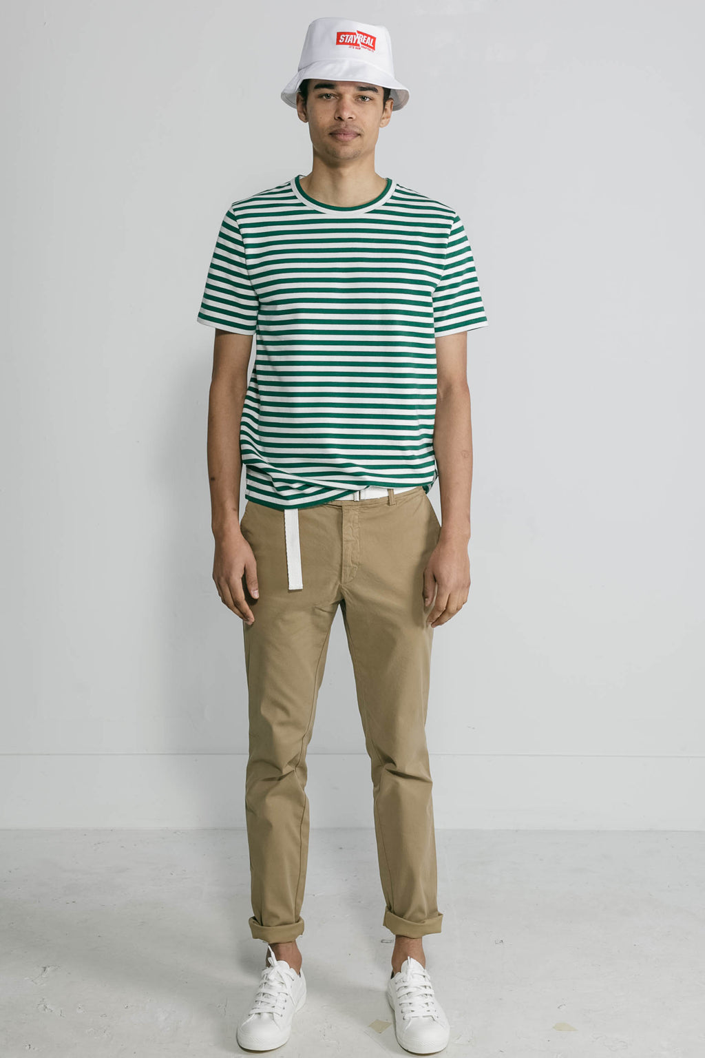 Marine Stripe Crew in White and Green 001