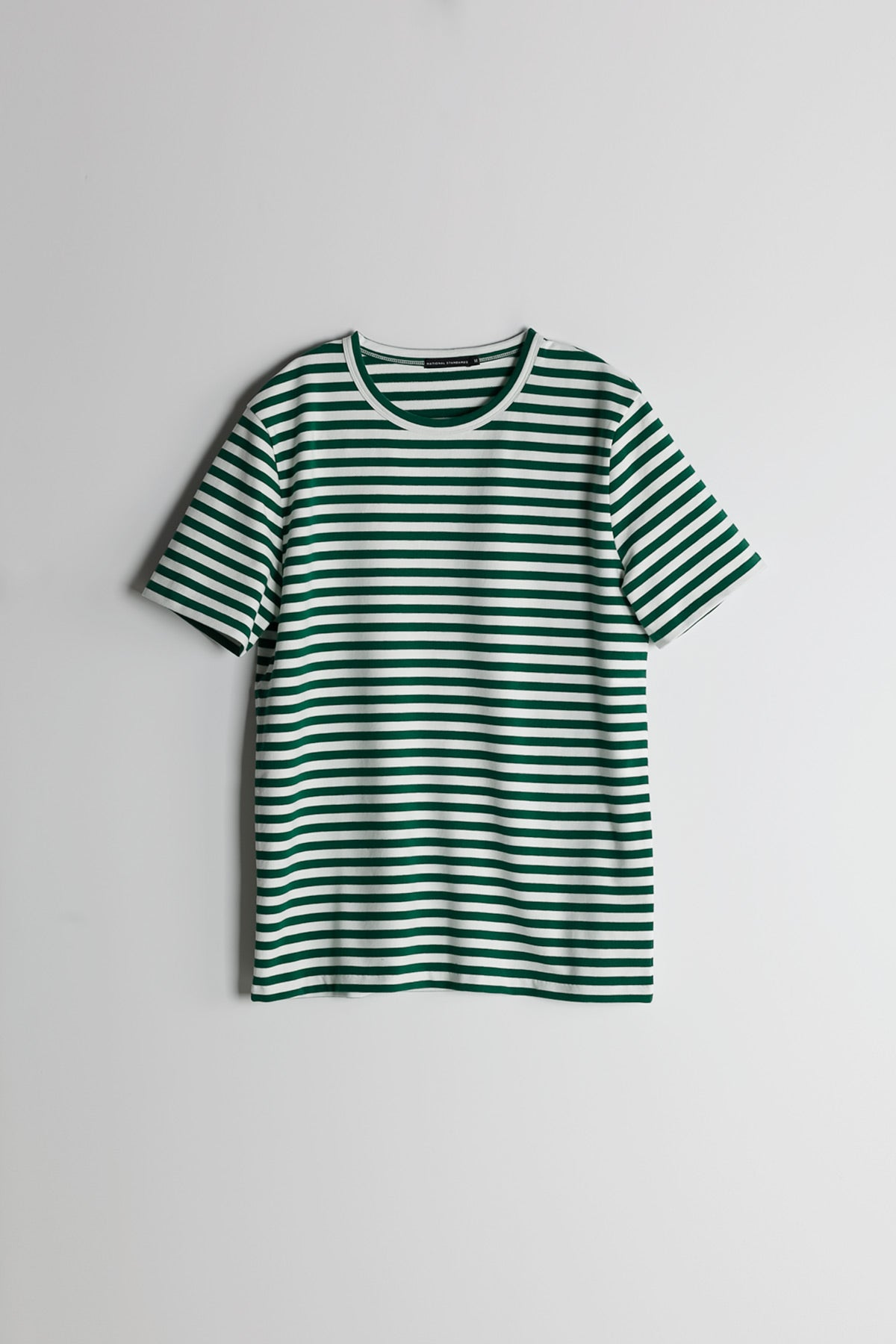 Marine Stripe Crew in White and Green 007